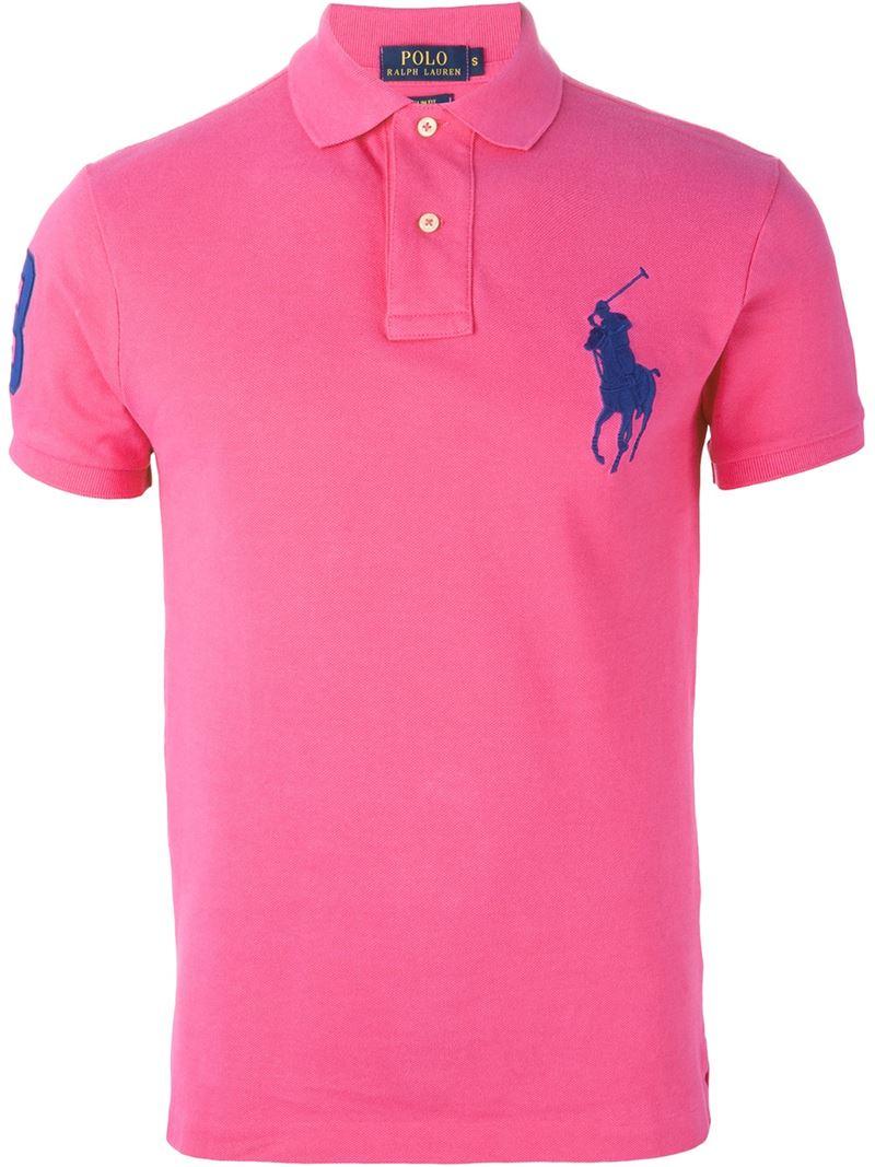 Polo ralph lauren logo embroidered polo shirt in pink for for Ralph lauren logo shirt
