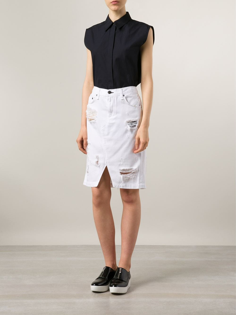 White Denim Jean Skirt