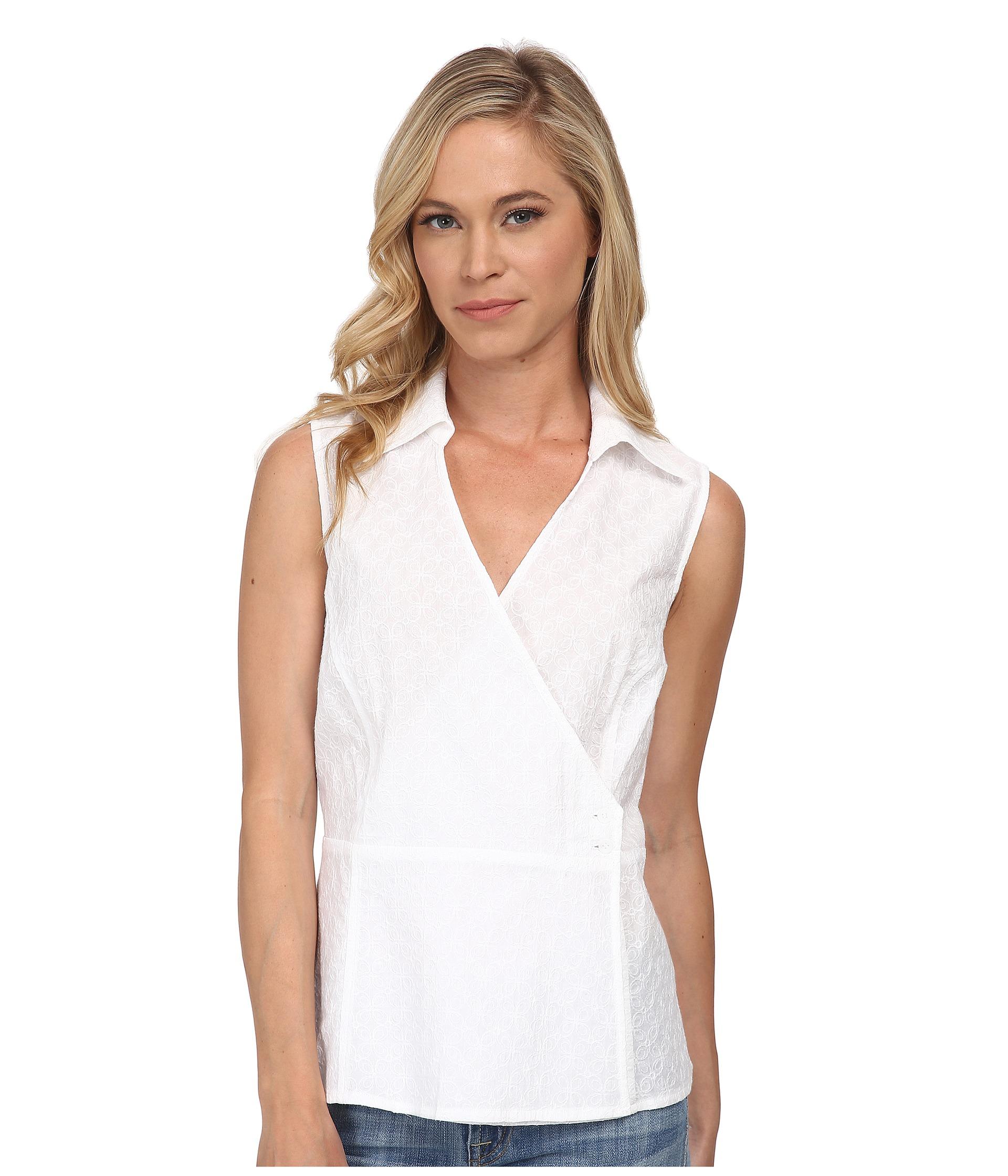 cab6e92f59e1 Pendleton Petite Sleeveless Wrap Shirt in White - Lyst