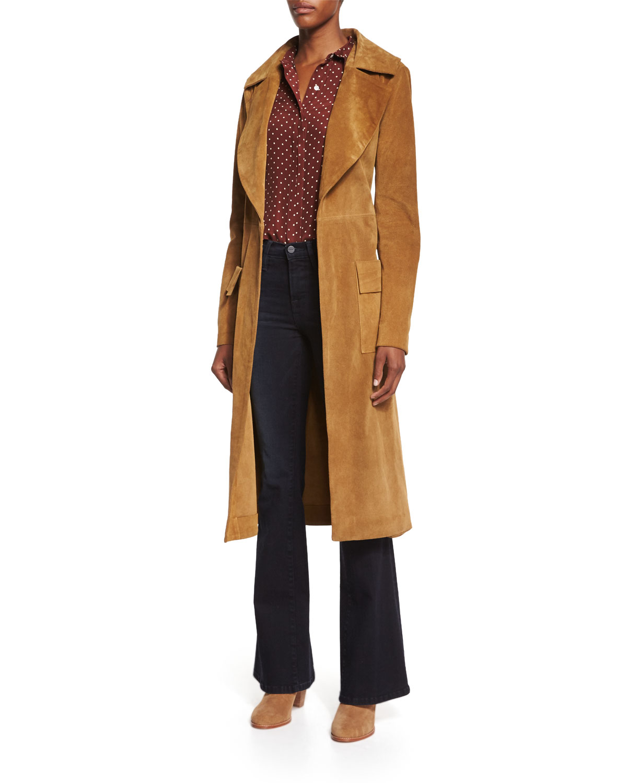 frame denim le duster mid length coat in brown camel lyst. Black Bedroom Furniture Sets. Home Design Ideas