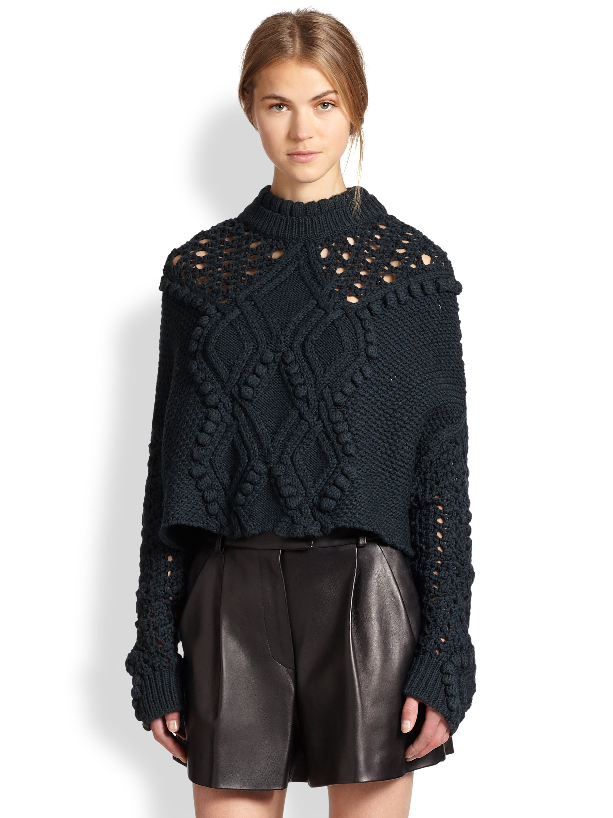 3.1 phillip lim Cropped Cable Knit Poncho Sweater in Blue | Lyst