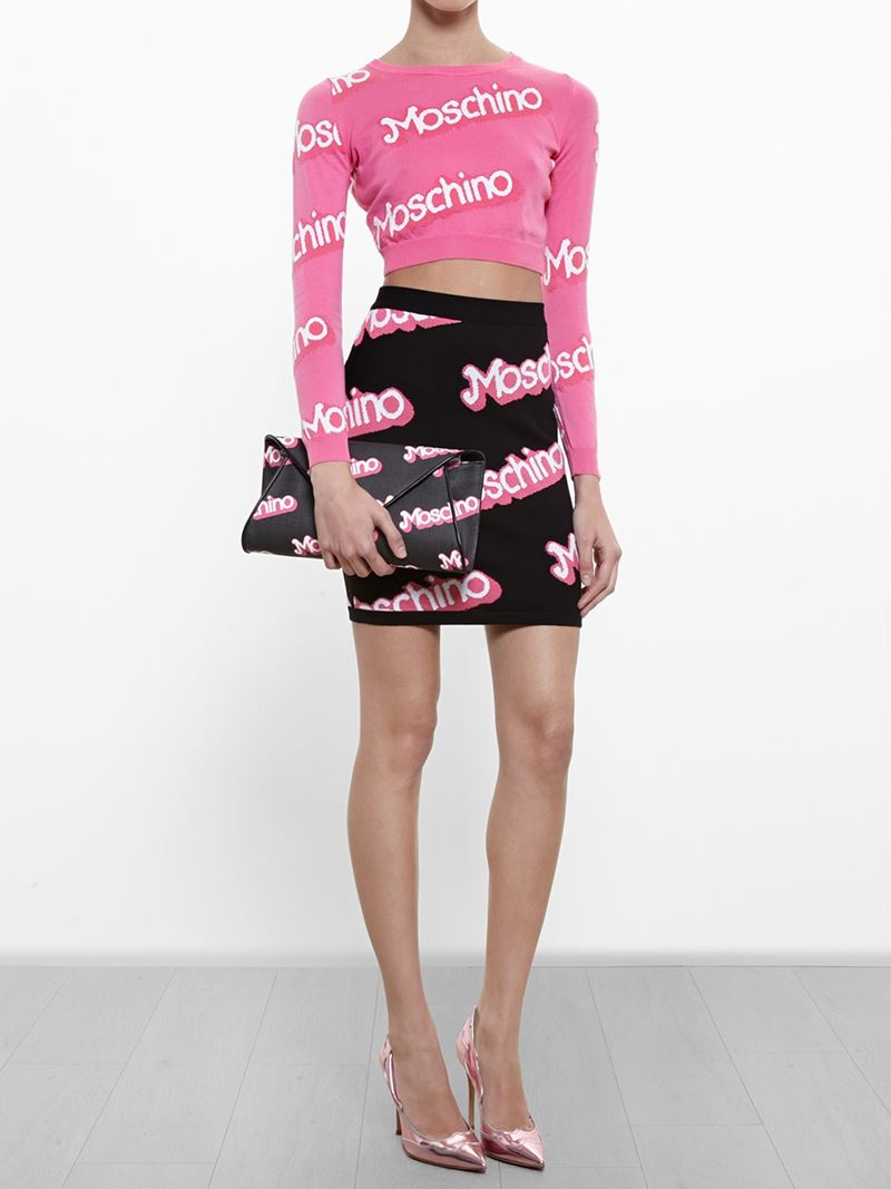 Moschino Logo Intarsia Cropped Sweater in Pink   Lyst