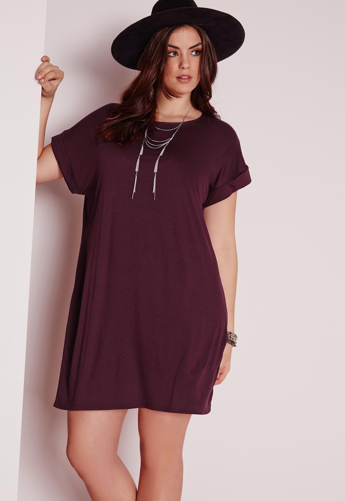 a746acf8b71a Lyst - Missguided Plus Size T-shirt Dress Purple in Purple