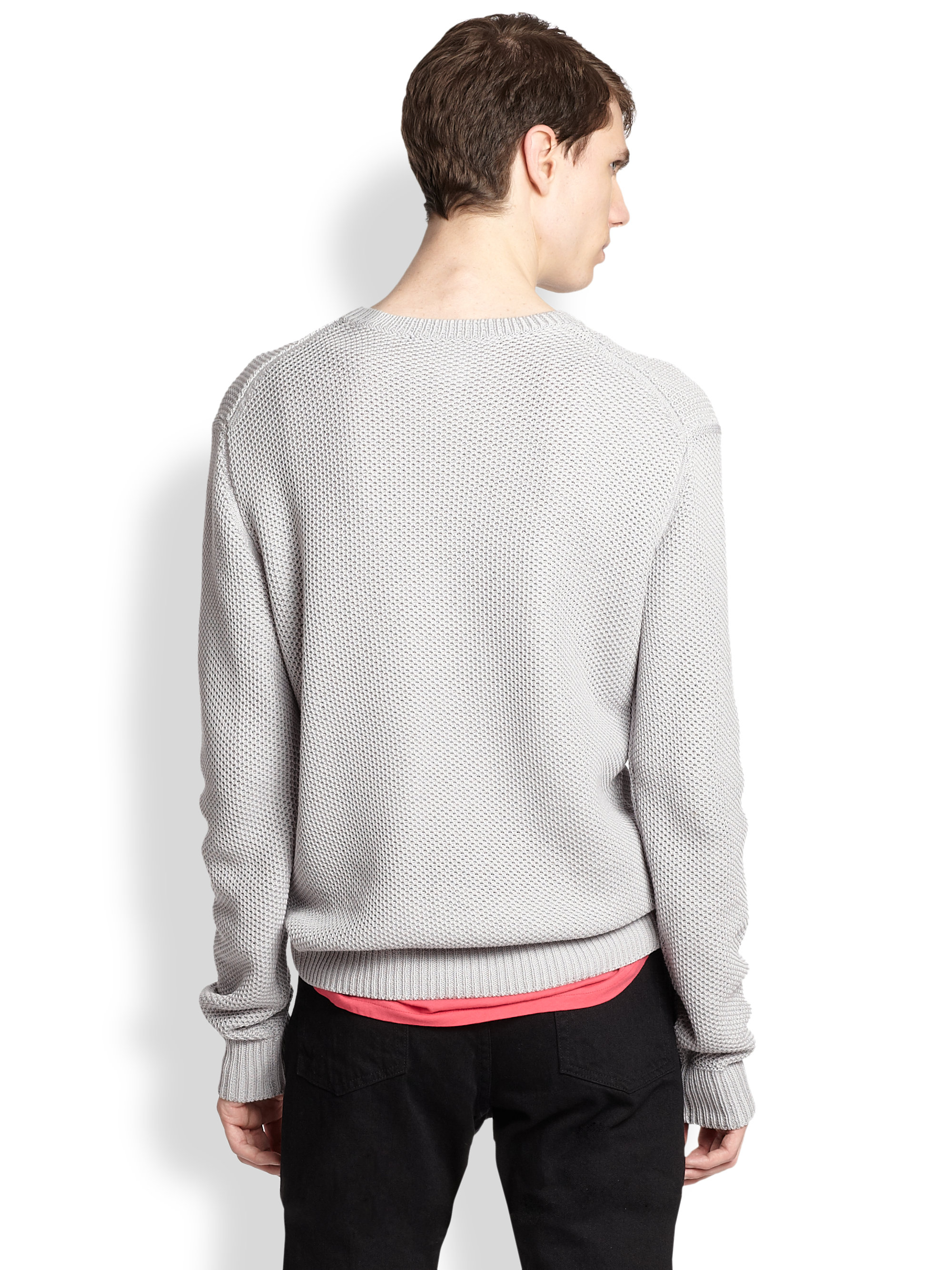 marc by marc jacobs textured chase sweater in gray for men lyst. Black Bedroom Furniture Sets. Home Design Ideas