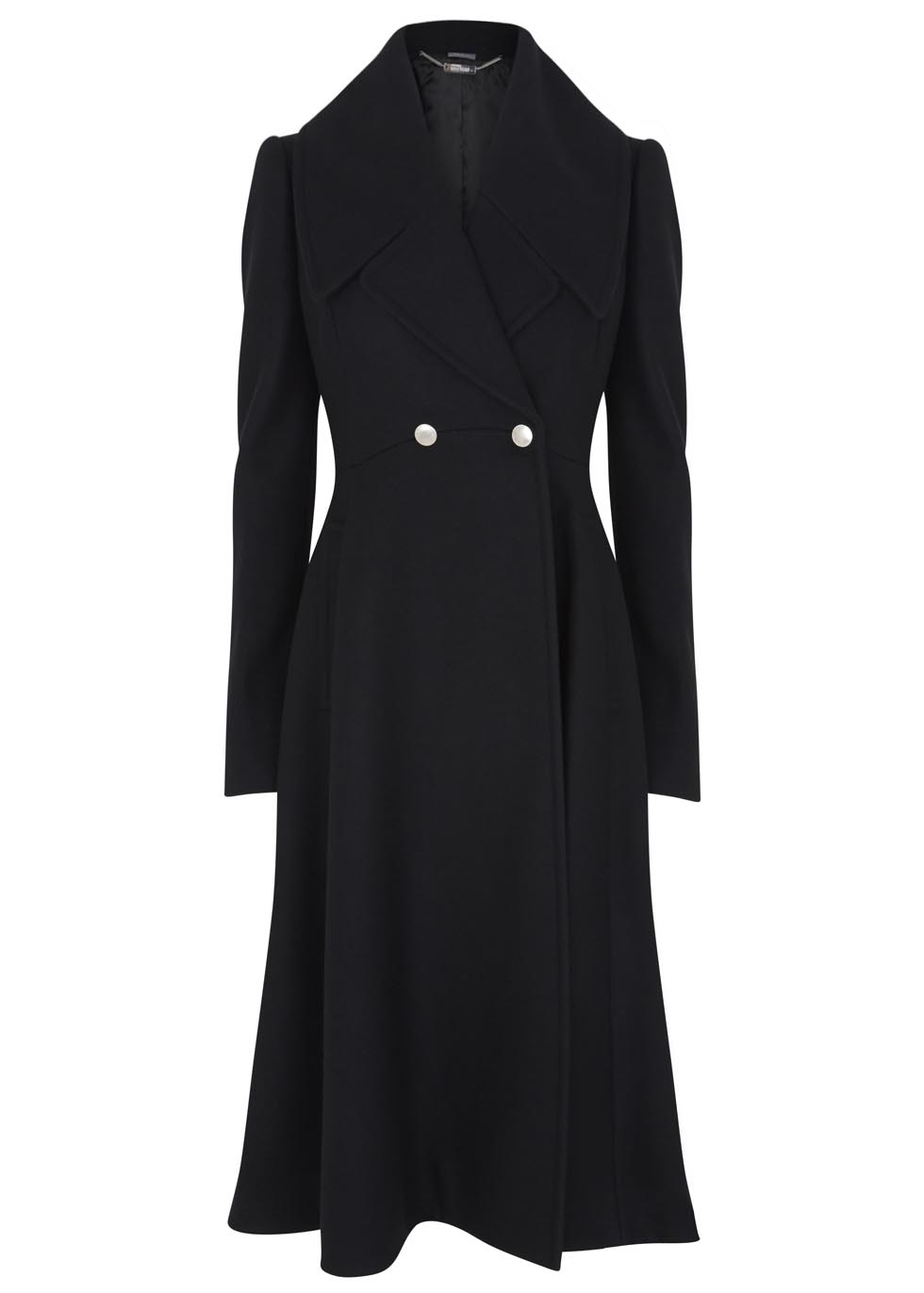 Alexander McQueen Black Flared Wool Coat - Kate Middleton Jackets ...