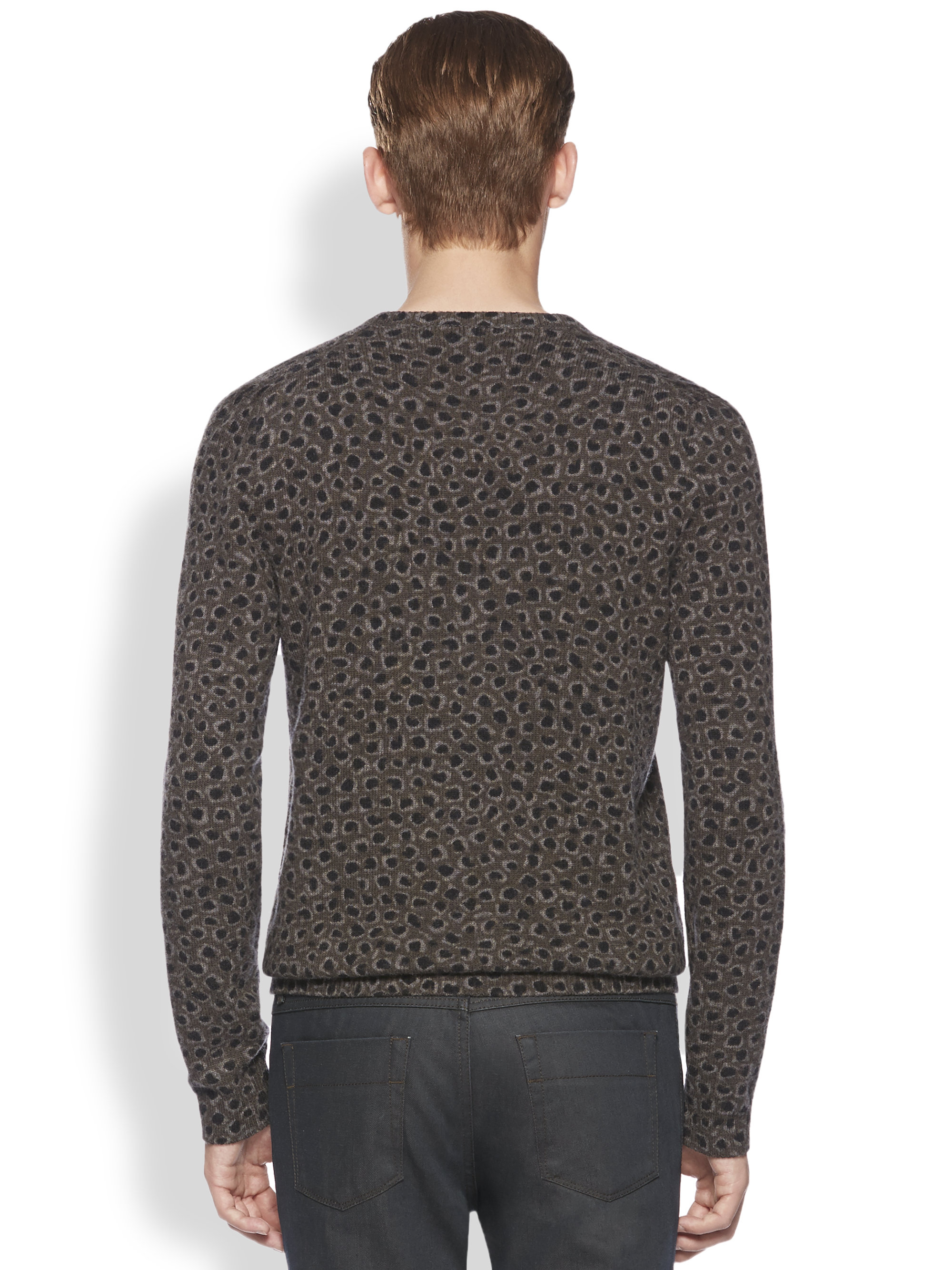 Gucci Leopard Print Knit Vneck Sweater in Blue for Men | Lyst