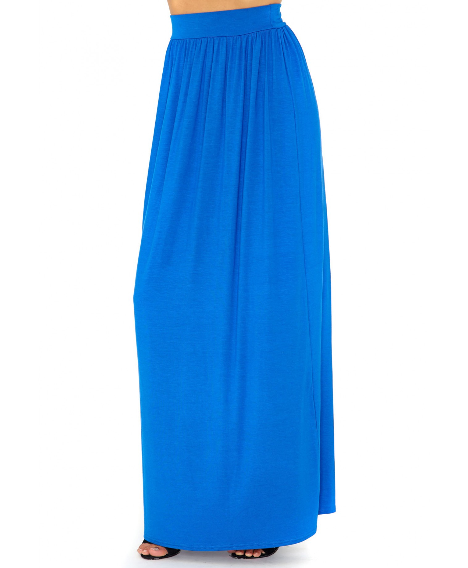 missguided kalkie maxi skirt in royal blue in blue