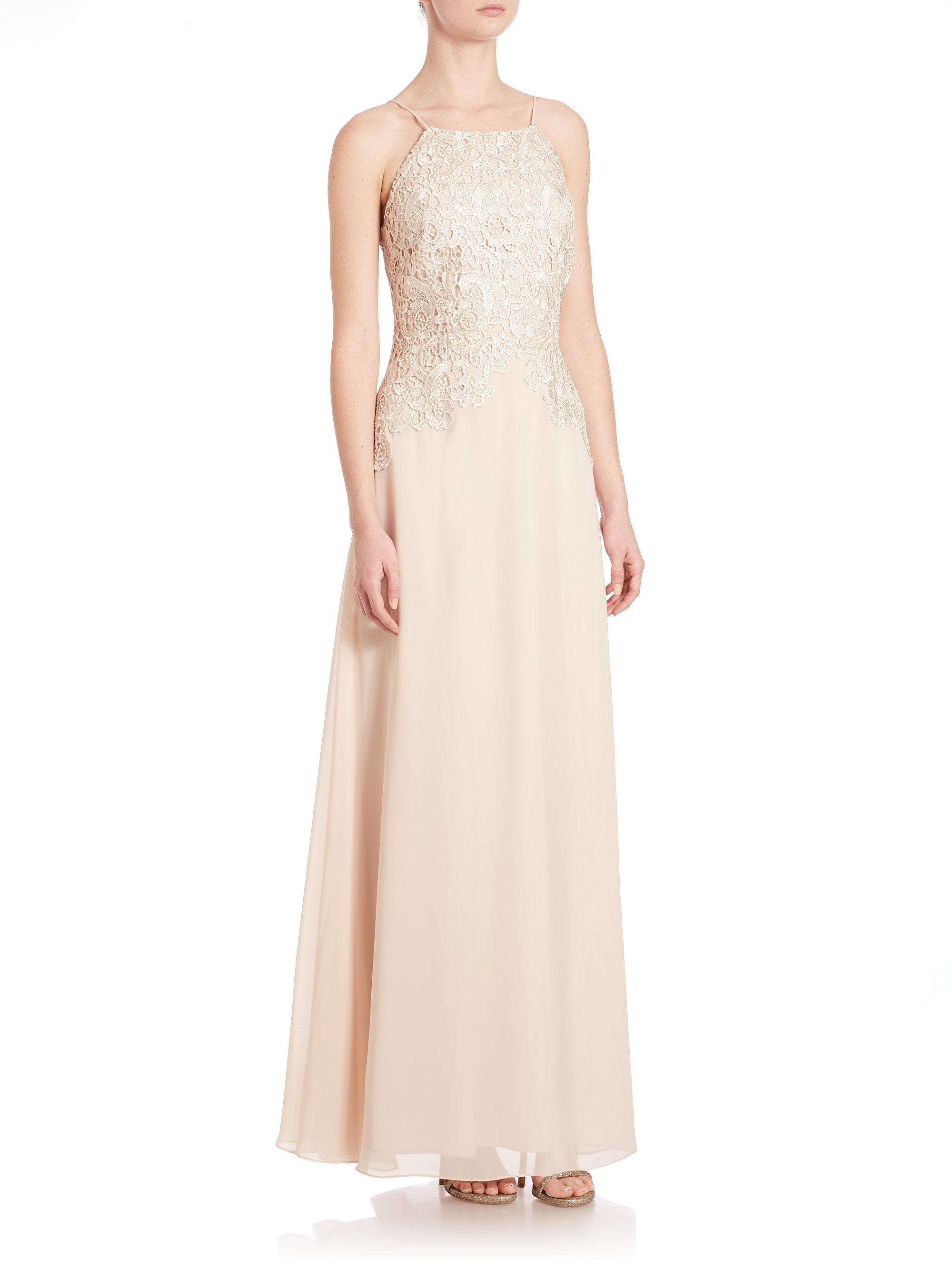 Lyst aidan mattox lace halter gown in metallic gallery ombrellifo Choice Image