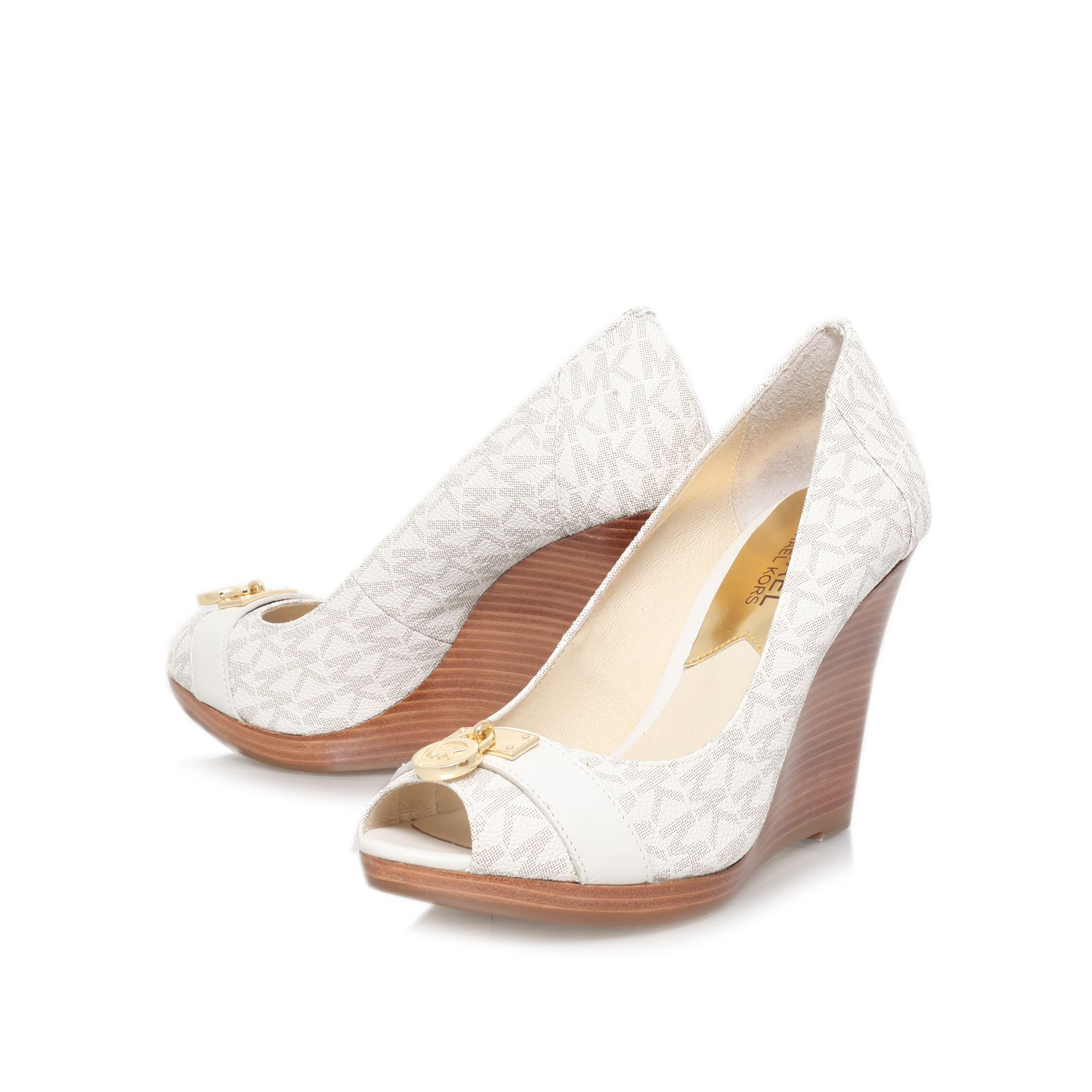 michael kors hamilton wedge peep toe court shoes in