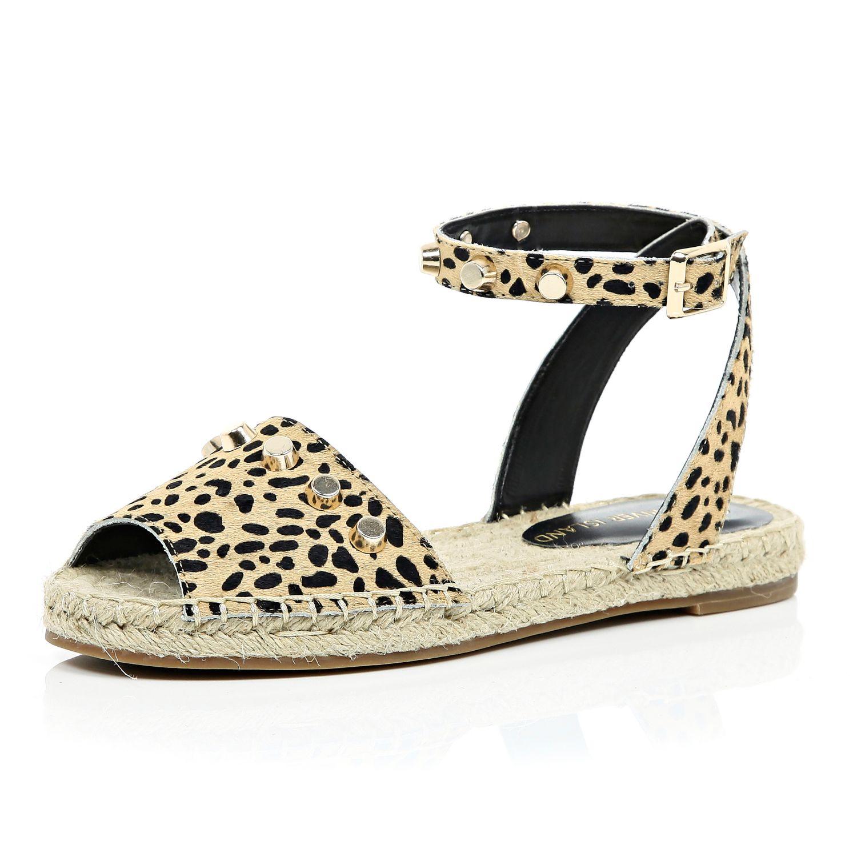 08ceeb843364 River Island Leopard Leather Ponyskin Espadrille Sandals - Lyst
