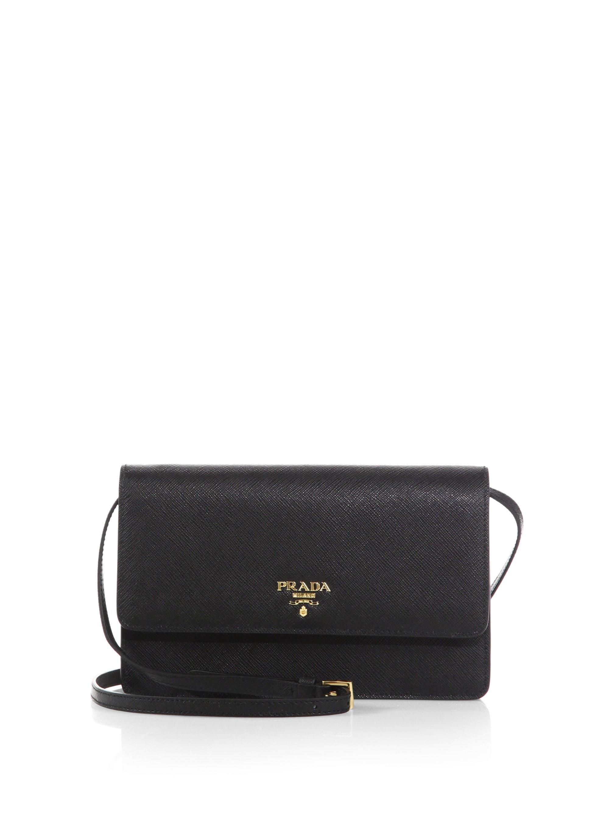 c3cd666d37bd8 Lyst - Prada Saffiano Lux Crossbody Bag in Black