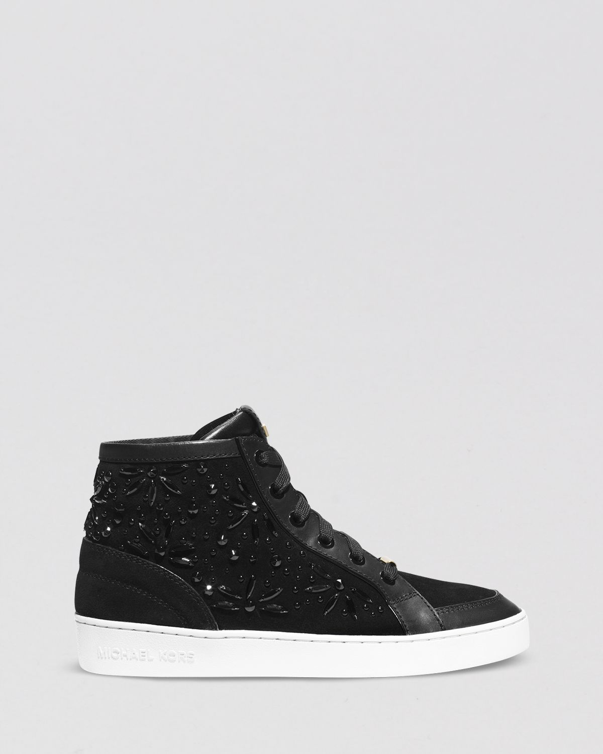 lyst michael michael kors lace up high top sneakers nadine in black. Black Bedroom Furniture Sets. Home Design Ideas