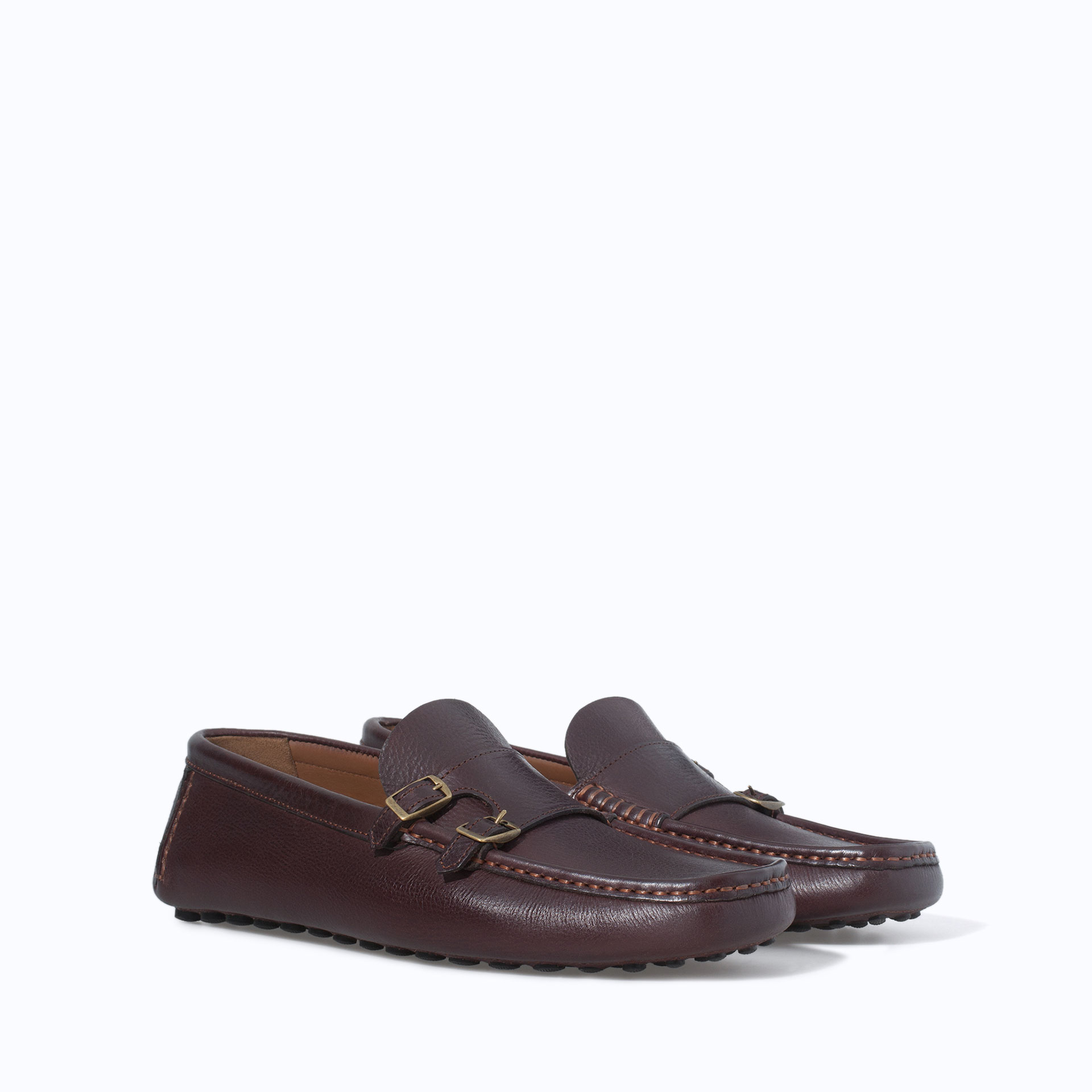 Zara Driving Shoes With Buckles In Brown For Men Lyst