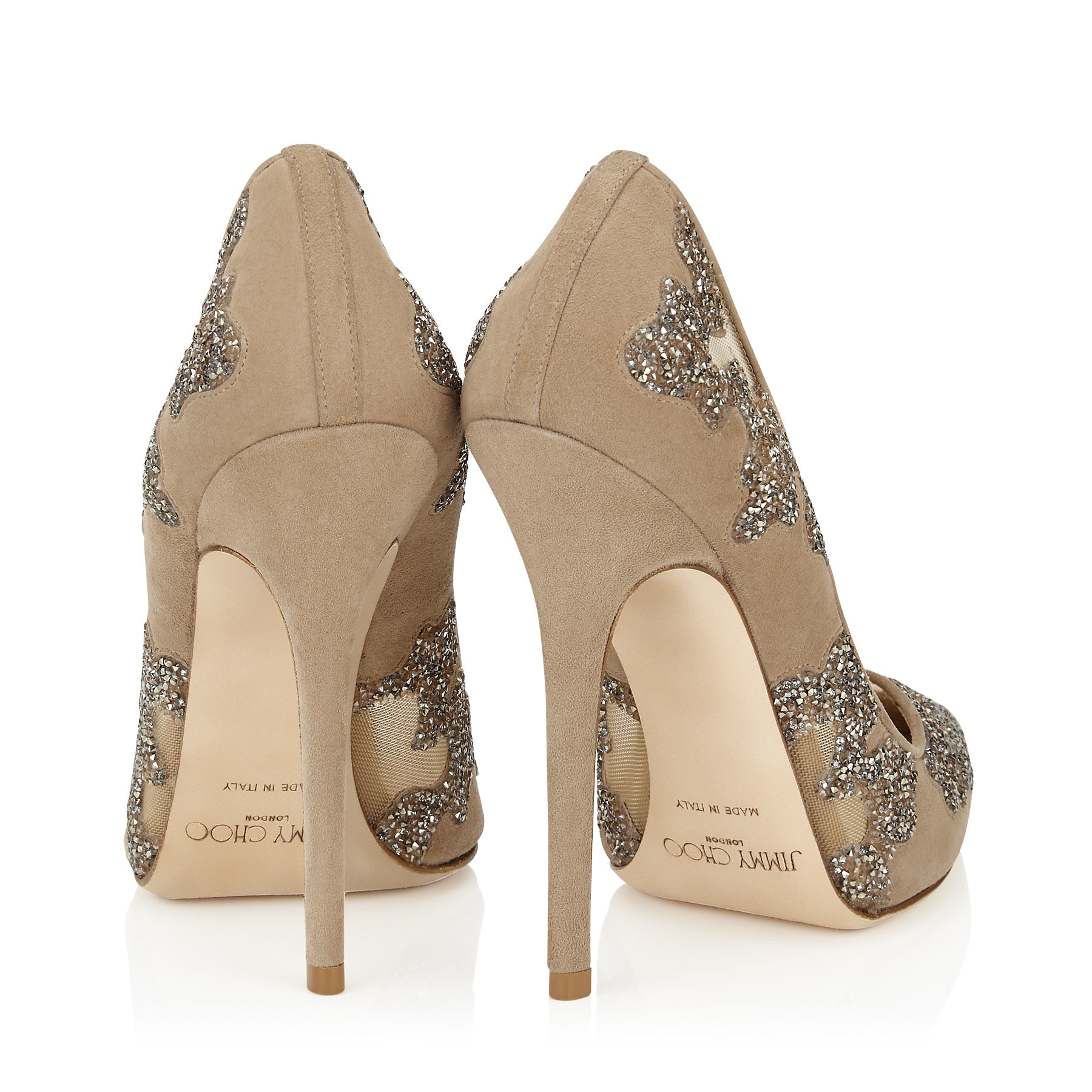 Lyst - Jimmy Choo Karmel 120 Nude Suede And Mesh With Crystal Rocks Pointy  Toe Pumps in Natural