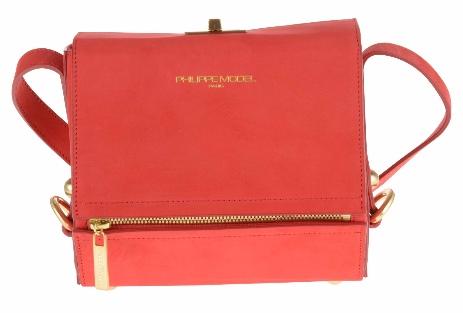 philippe model borsa box rosso corallo doppio scomparto interno tasche in red lyst. Black Bedroom Furniture Sets. Home Design Ideas