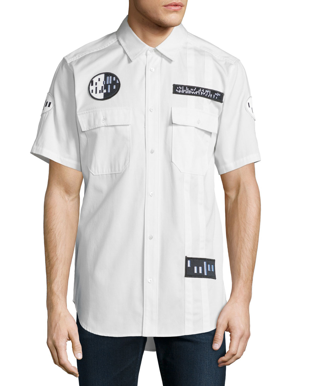 Alexander wang button down short sleeve shirt with patches for White short sleeve button down shirts for men