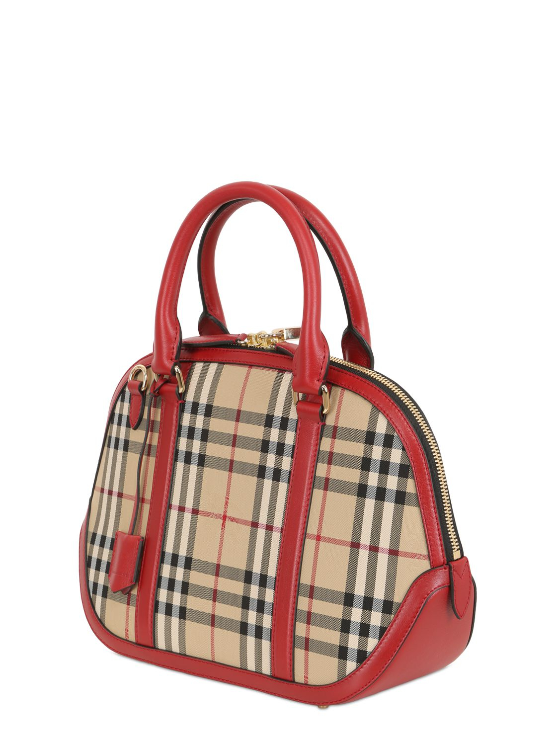lyst burberry small orchard bridle house check bag in red