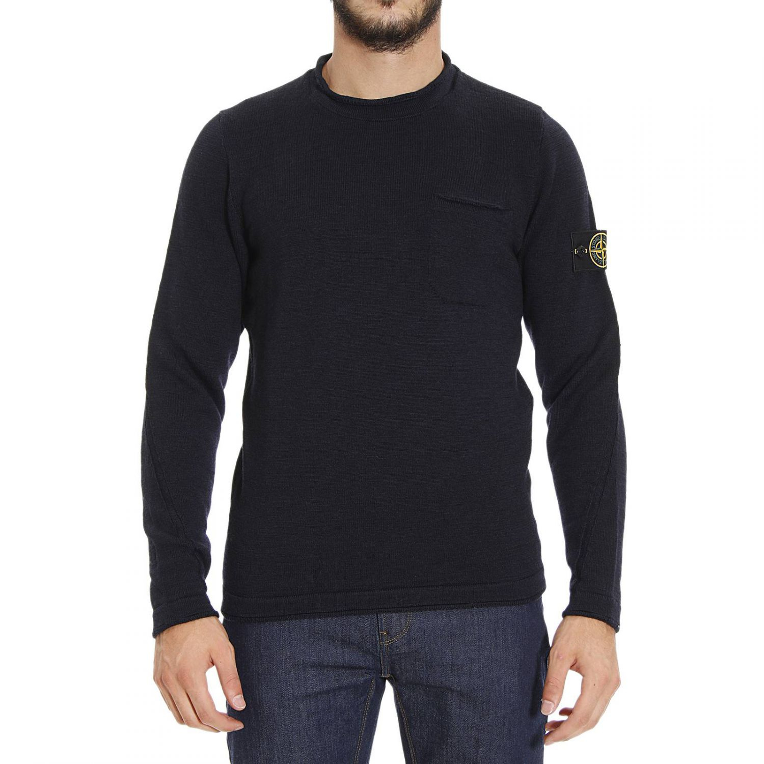 lyst stone island sweater in blue for men. Black Bedroom Furniture Sets. Home Design Ideas