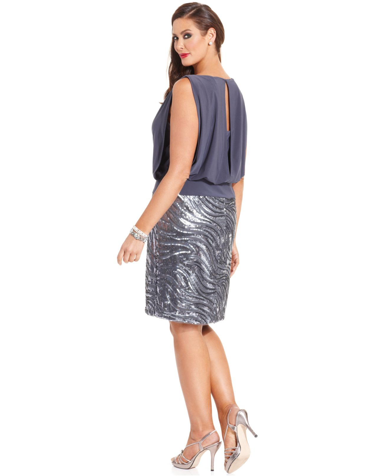 betsy & adam plus size sequin blouson dress in gray | lyst