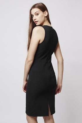 V-neck lace panel dress