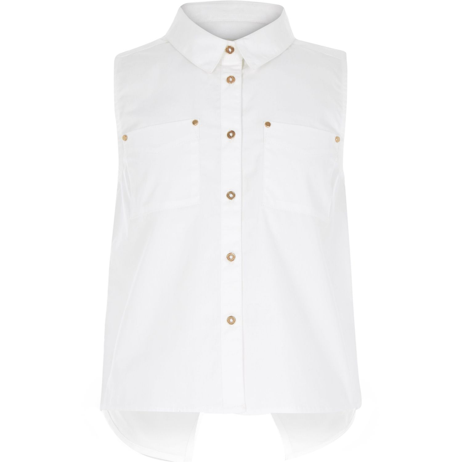 River island Girls White Sleeveless Shirt in White | Lyst