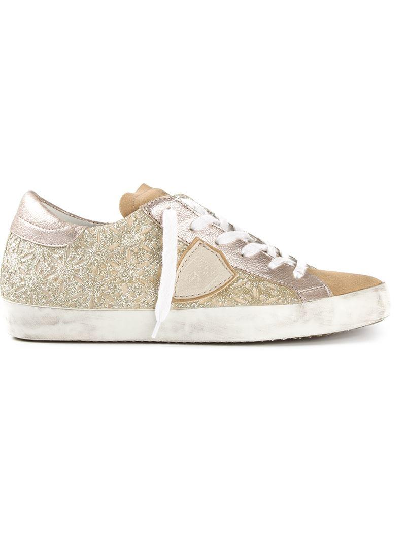 Sneaker calfskin glitter Glitter gold Philippe Model Outlet For Cheap Discount Cheap Price Cheap Sale Cheapest Buy Cheap Order 5lQpHJ
