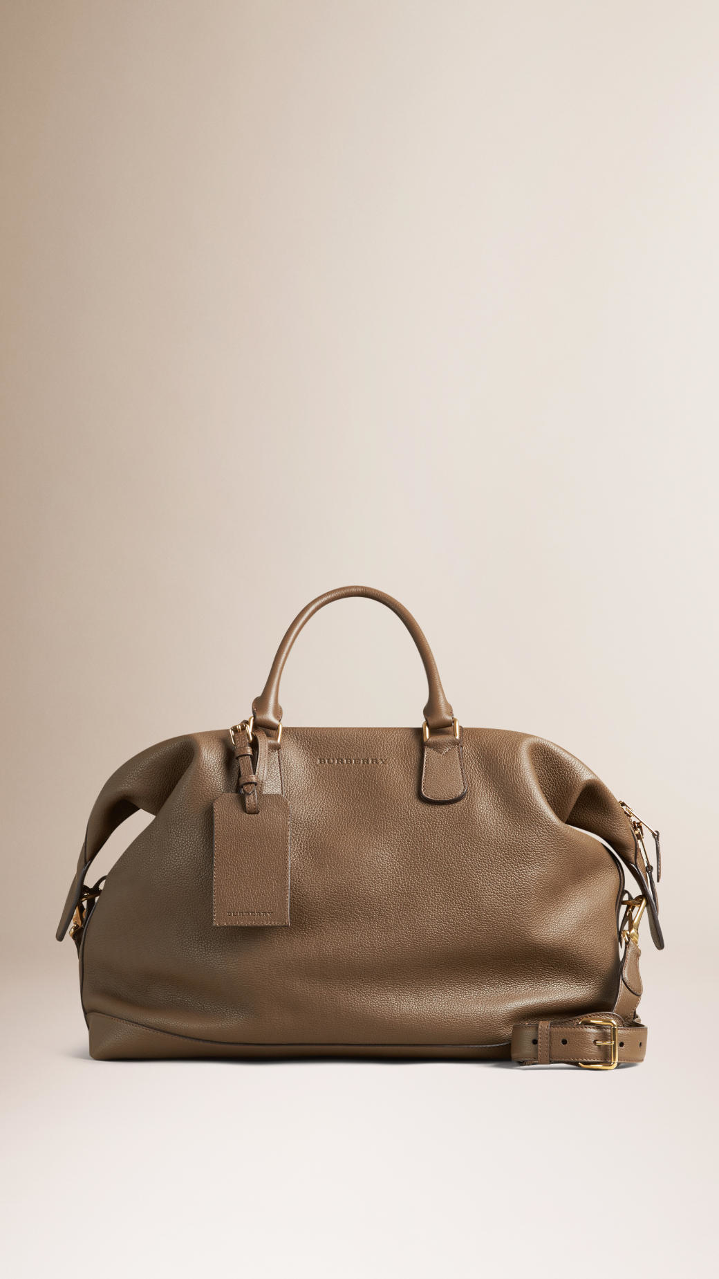 e3d8e0923a2d Burberry Grainy Leather Holdall Khaki Brown in Natural for Men - Lyst