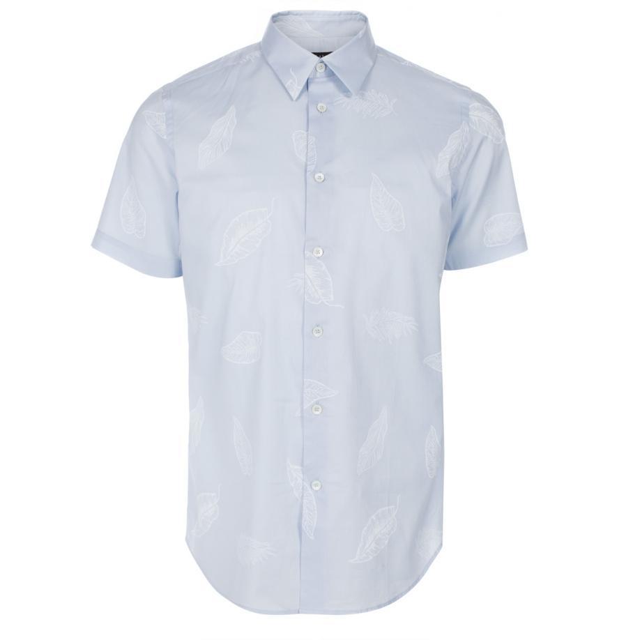 Paul smith men 39 s light blue 39 folium 39 print short sleeve for Light blue short sleeve shirt mens