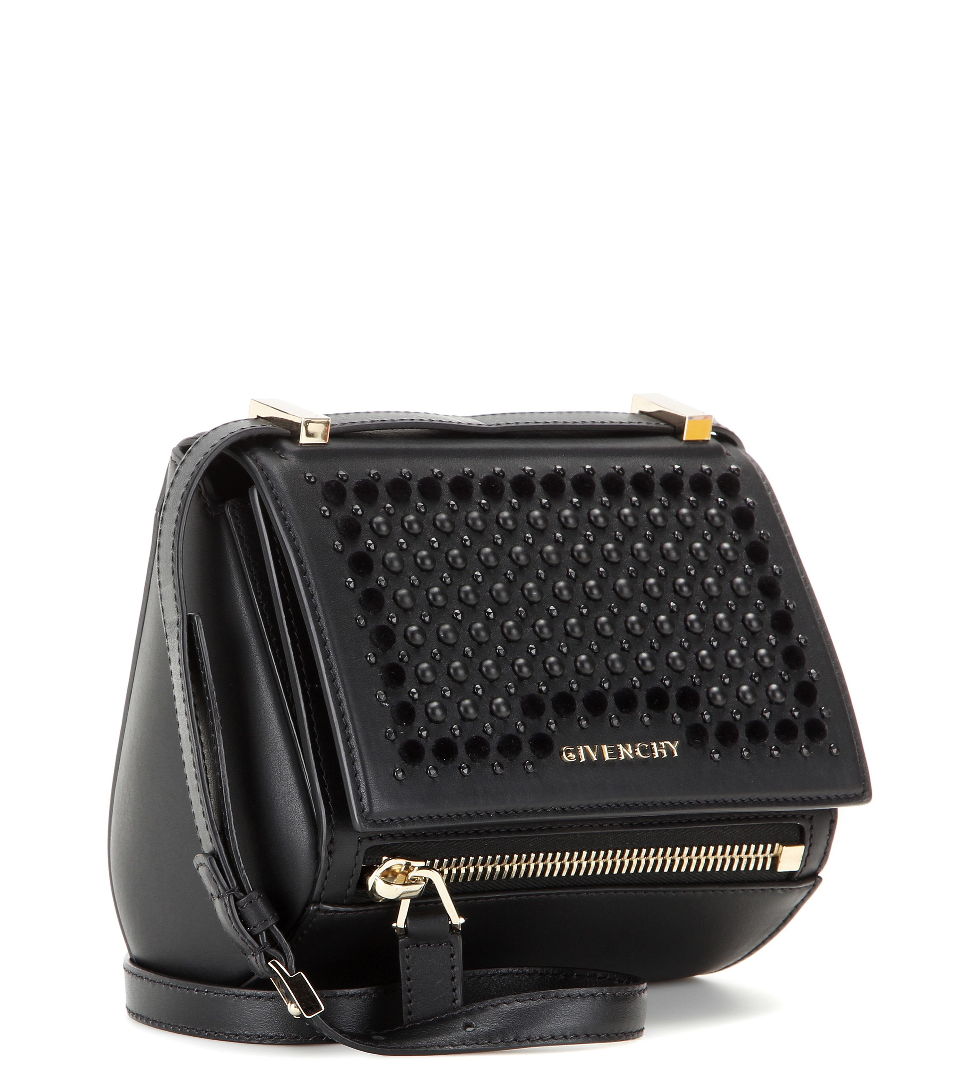 6d999484abb9 Lyst - Givenchy Pandora Box Mini Embellished Leather Shoulder Bag in ...