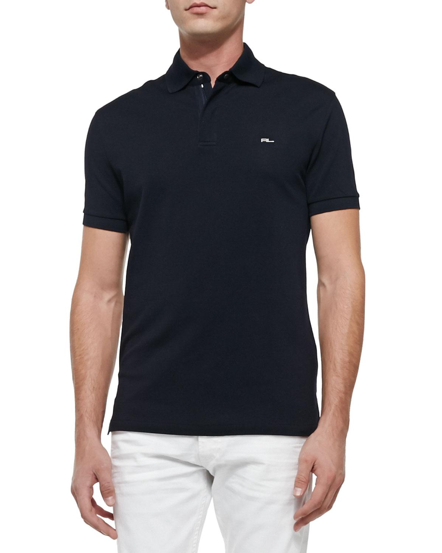 Ralph lauren black label mesh knit polo shirt in blue for for Ralph lauren black label polo shirt