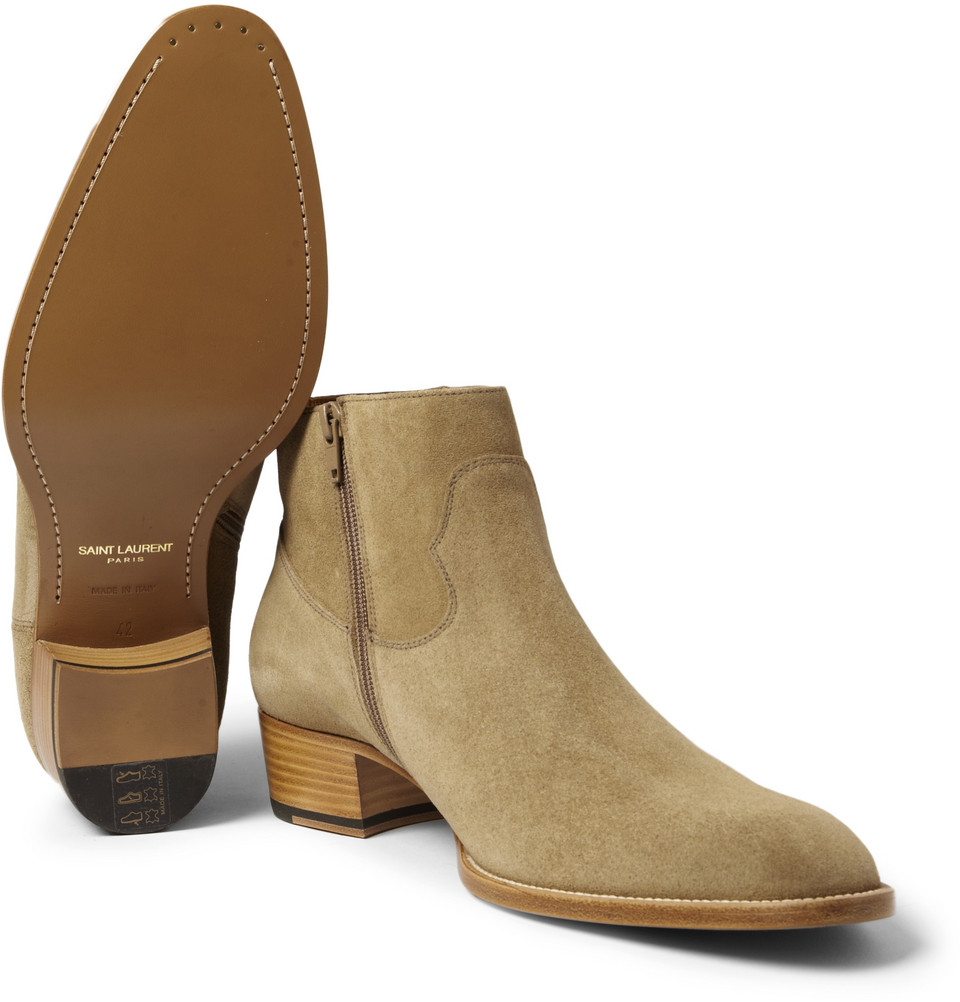 Lyst - Saint Laurent Suede Chelsea Boots in Natural for Men 267382738ea3