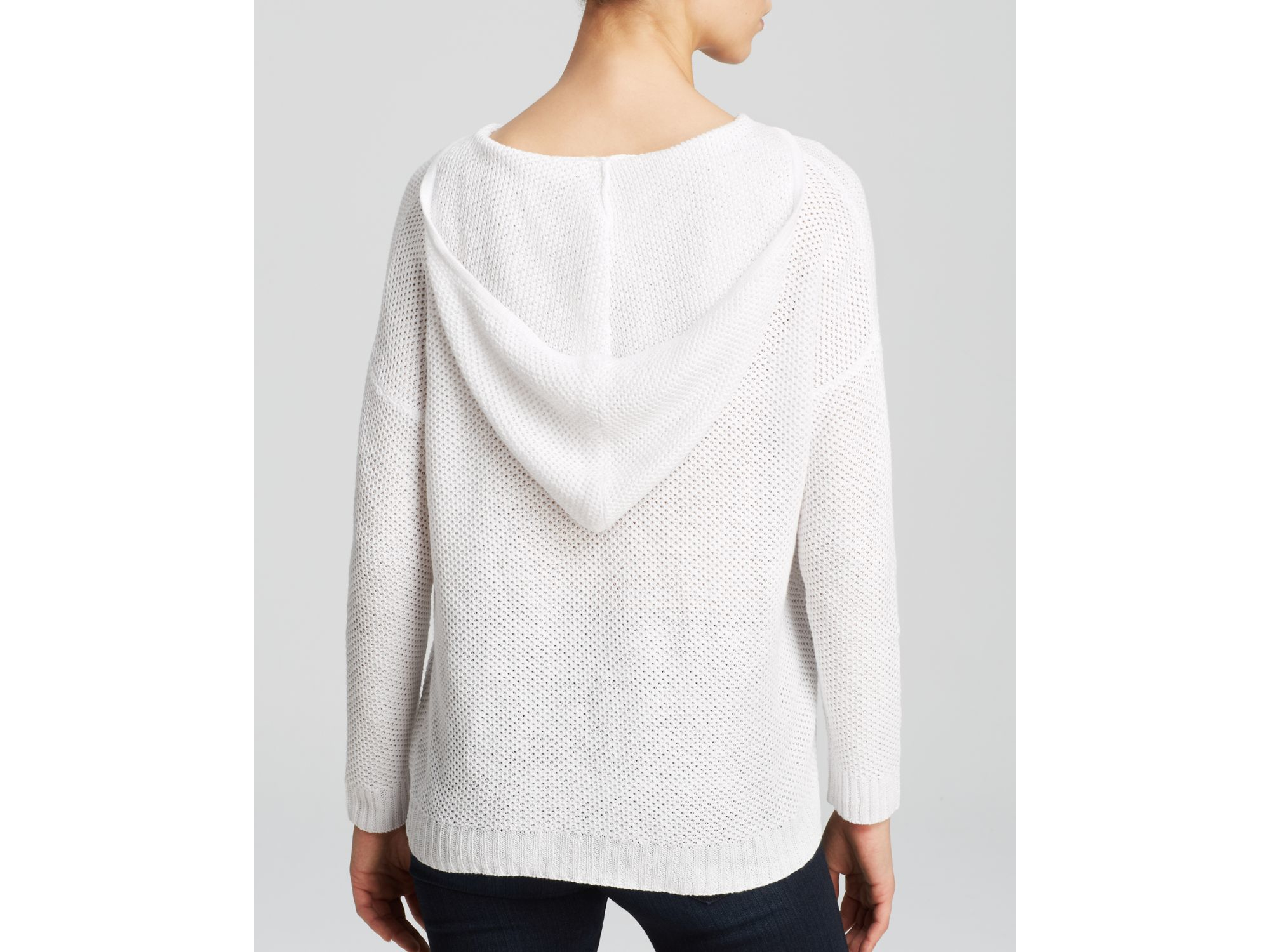Eileen fisher Hooded Linen Sweater in White | Lyst
