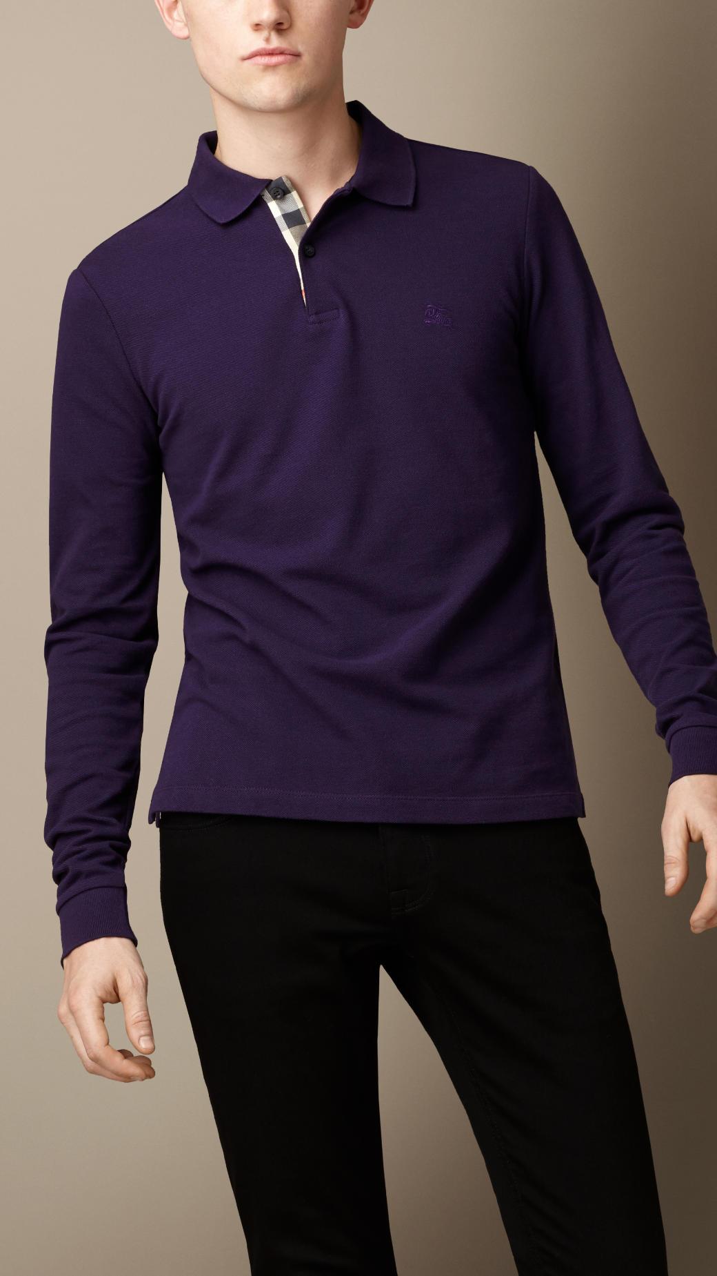 Burberry long sleeve polo shirt in purple for men dark for Royal purple mens dress shirts