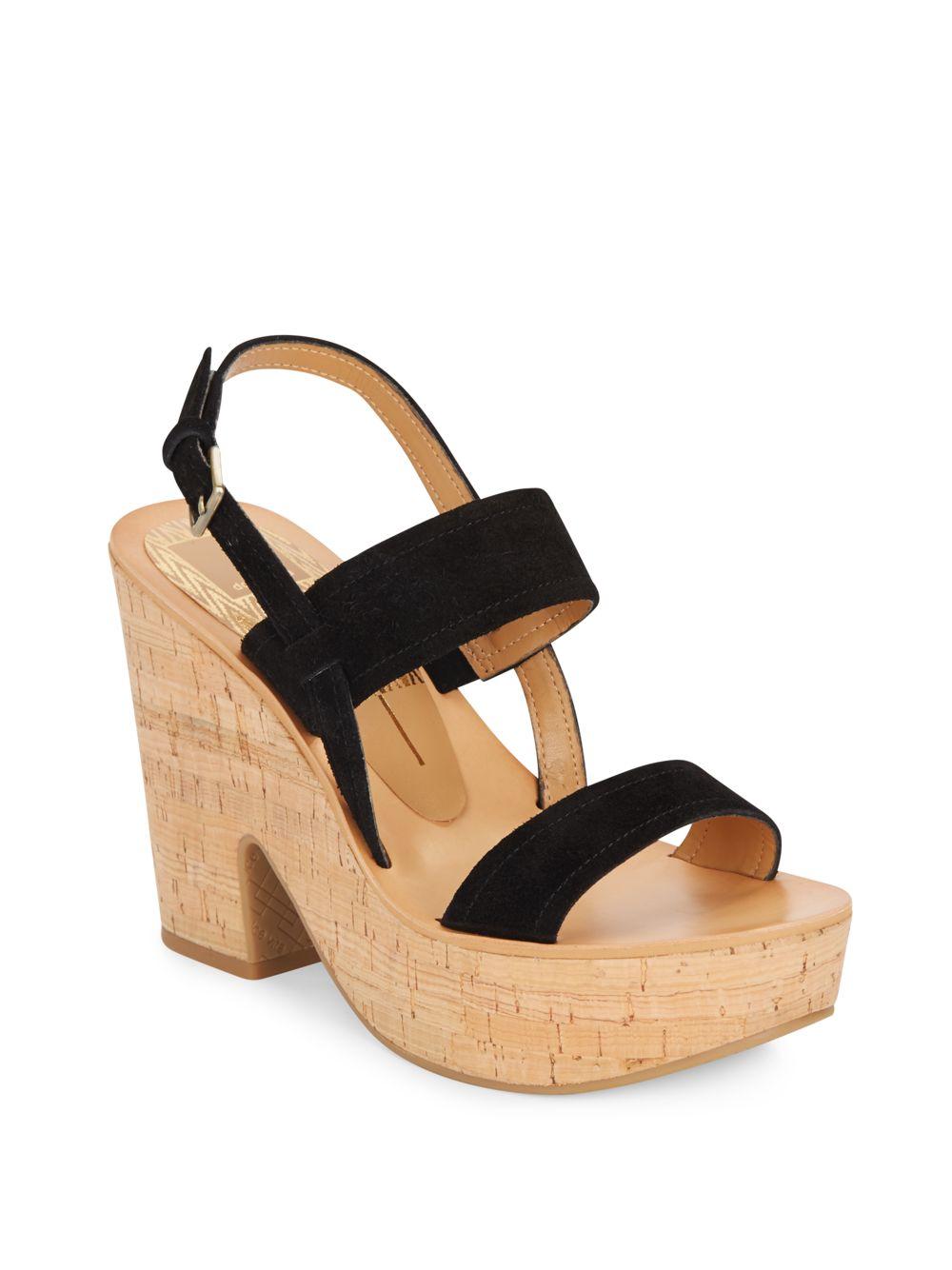 c2e34e188f Dolce Vita Rosa Suede Platform Sandals in Black - Lyst