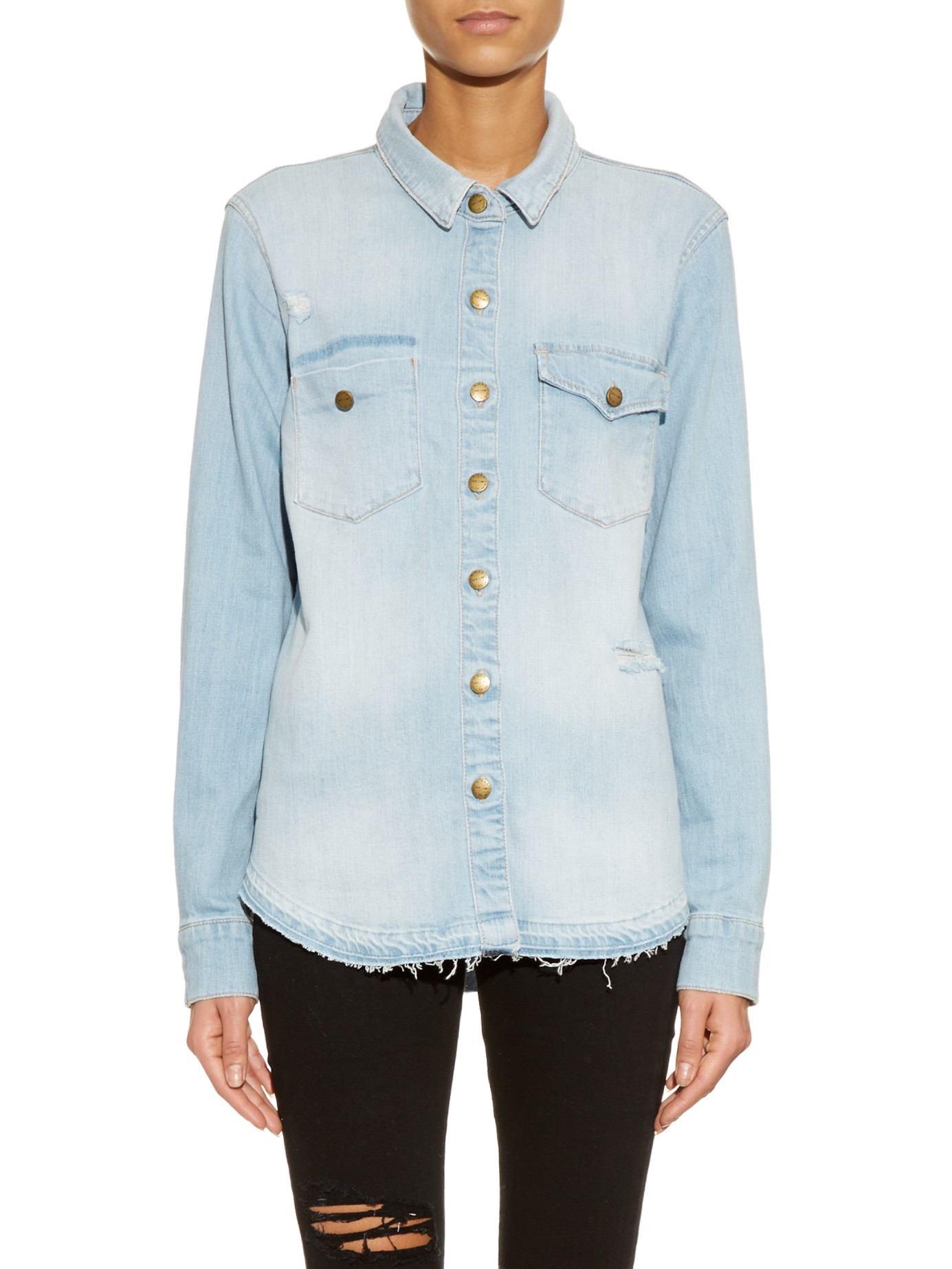 6b857055260405 Current/Elliott Desert Western Denim Shirt in Blue - Lyst