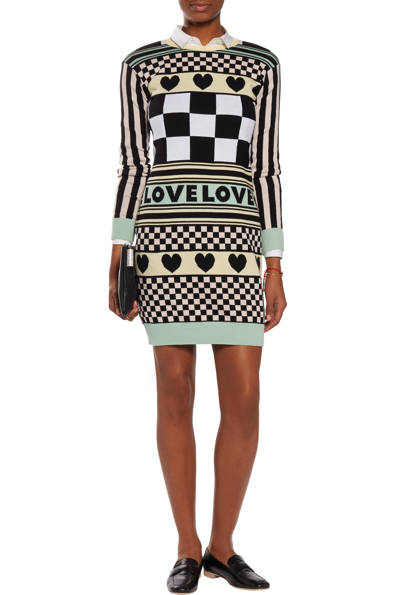 Love Moschino Woman Printed Cotton-fleece Mini Dress Black Size 42 Love Moschino MuNrB