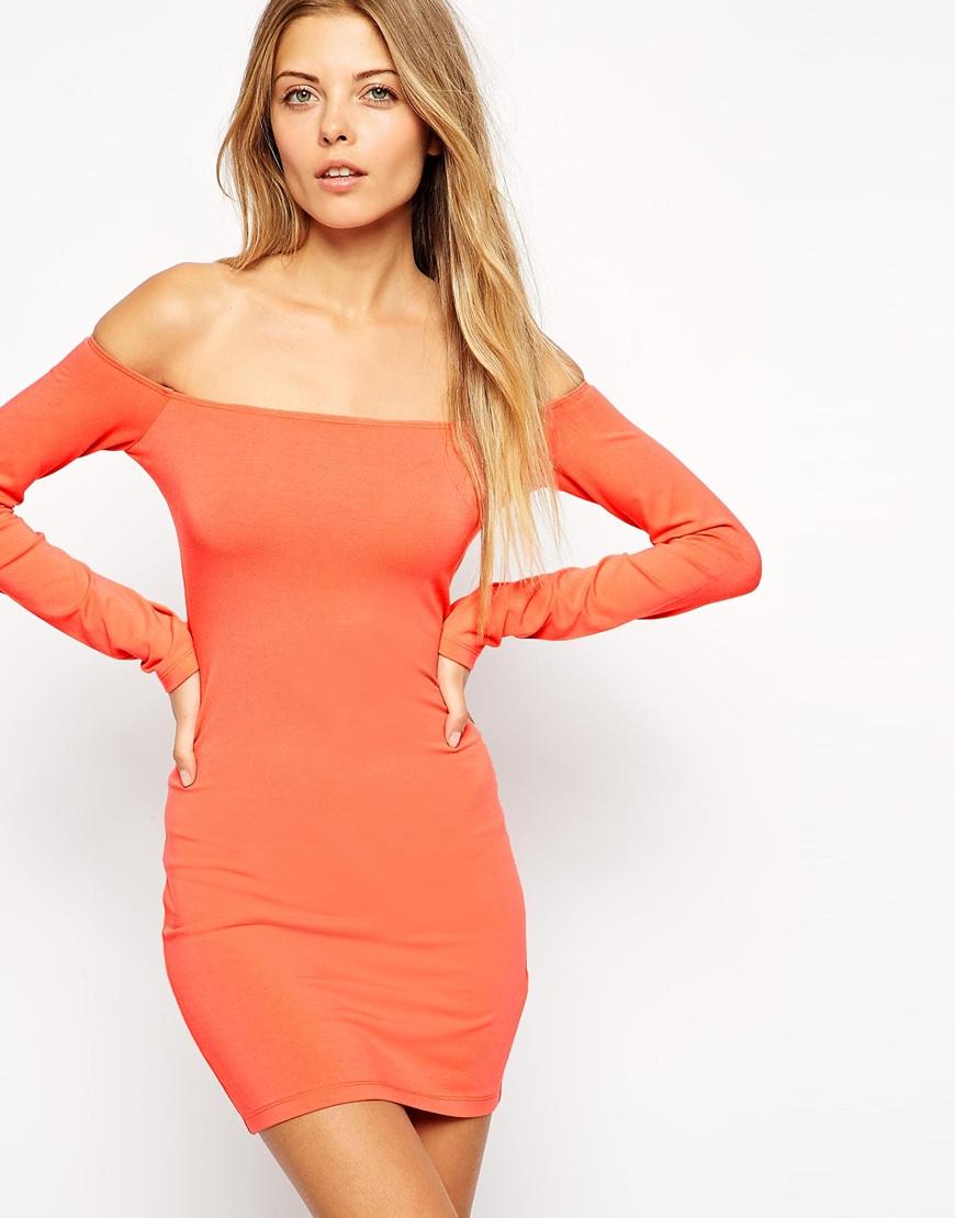 c04989f9696a Lyst - ASOS Long Sleeve Off The Shoulder Bardot Bodycon Mini Dress ...