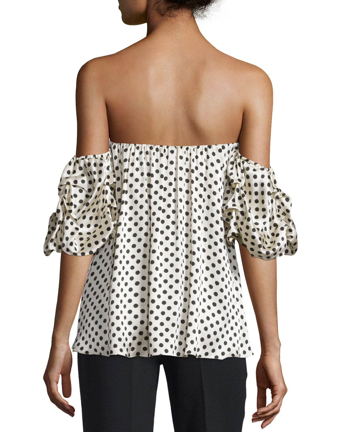 57c38d5e48e Johanna Ortiz Tulum Polka Dot Off-the-shoulder Top in Black - Lyst
