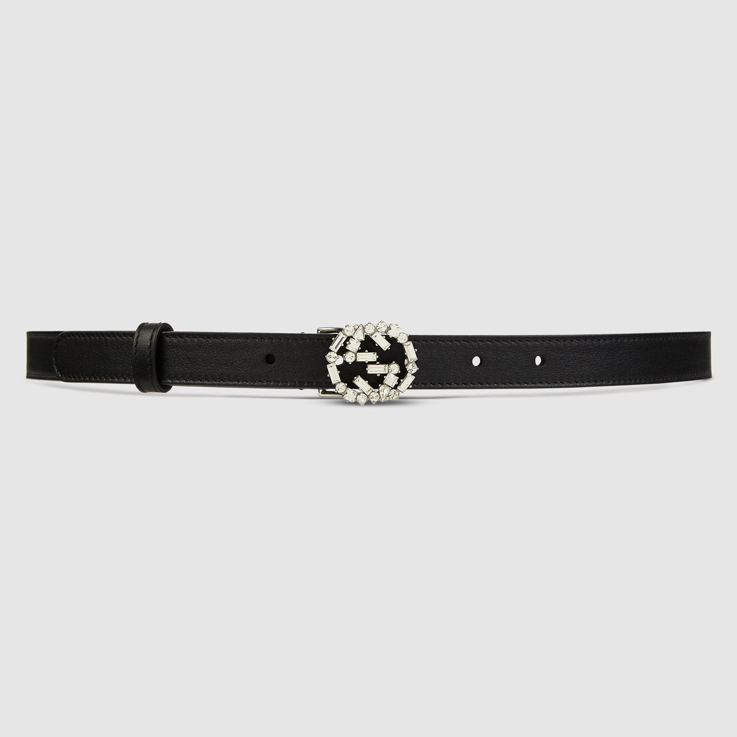 0602858bc67 Lyst - Gucci Thin Leather Belt With Crystal Gg in Black