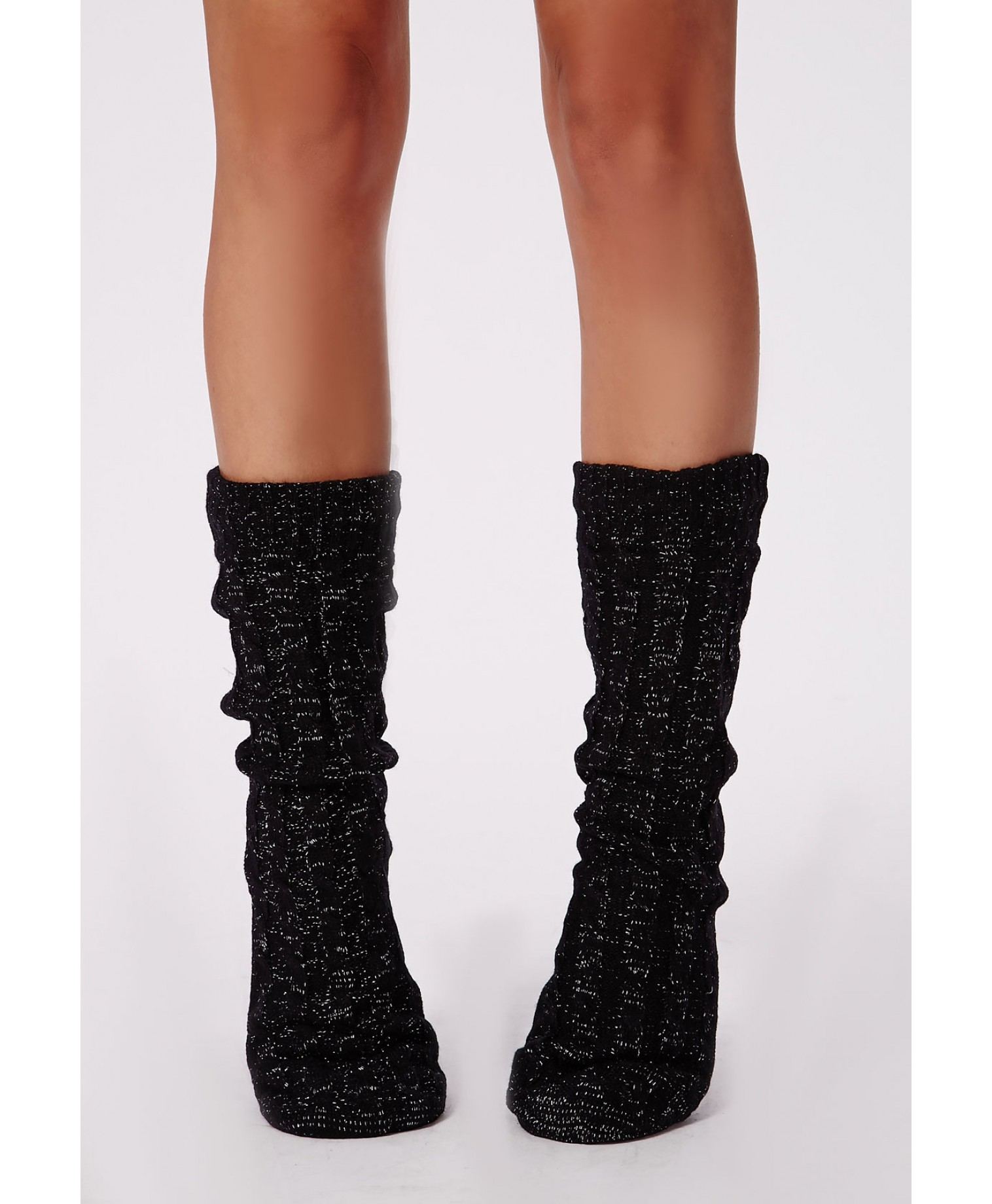 Lyst Missguided Chunky Cable Knit Slipper Socks Black In Black