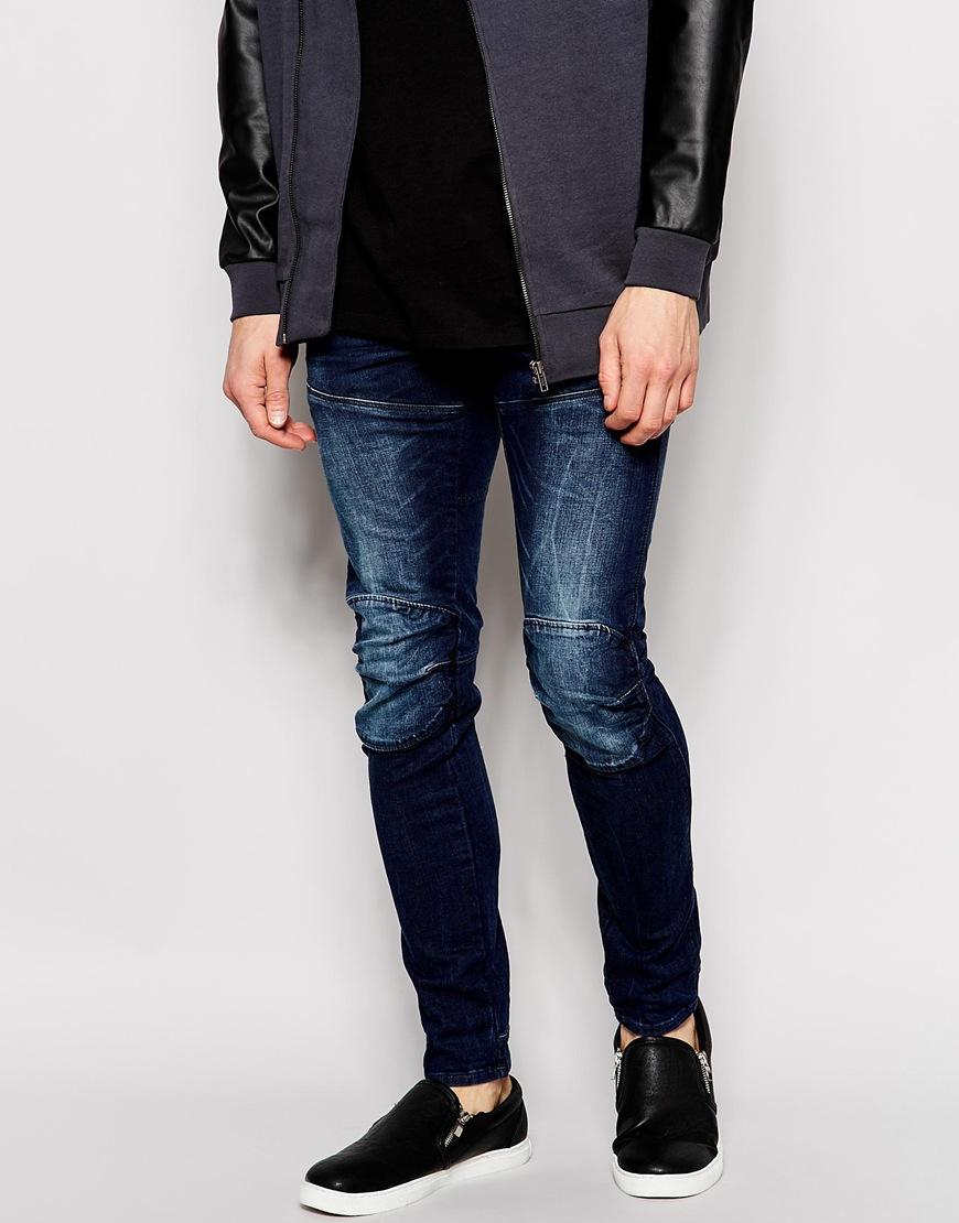 lyst g star raw jeans elwood 5620 3d super slim stretch dark aged in blue for men. Black Bedroom Furniture Sets. Home Design Ideas