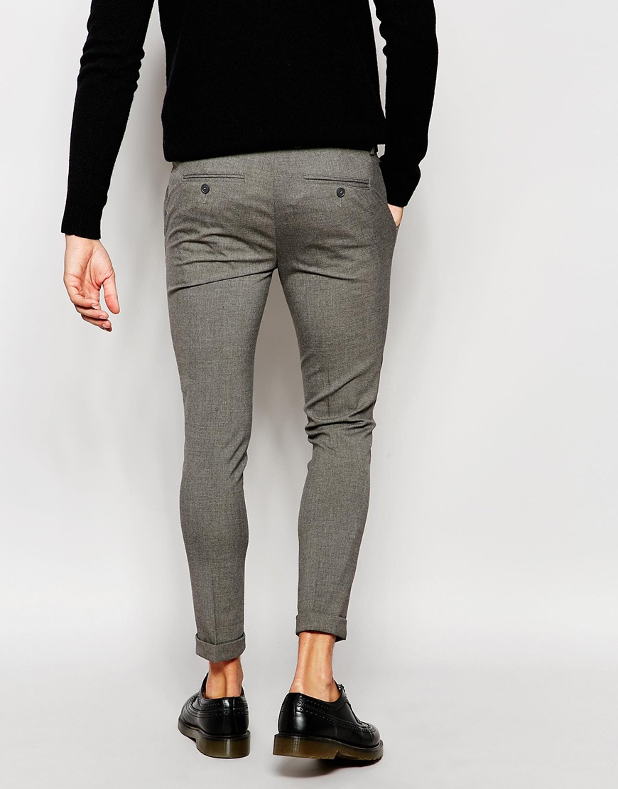 0b62d7a7a7b10 ASOS Super Skinny Smart Cropped Trousers in Gray for Men - Lyst