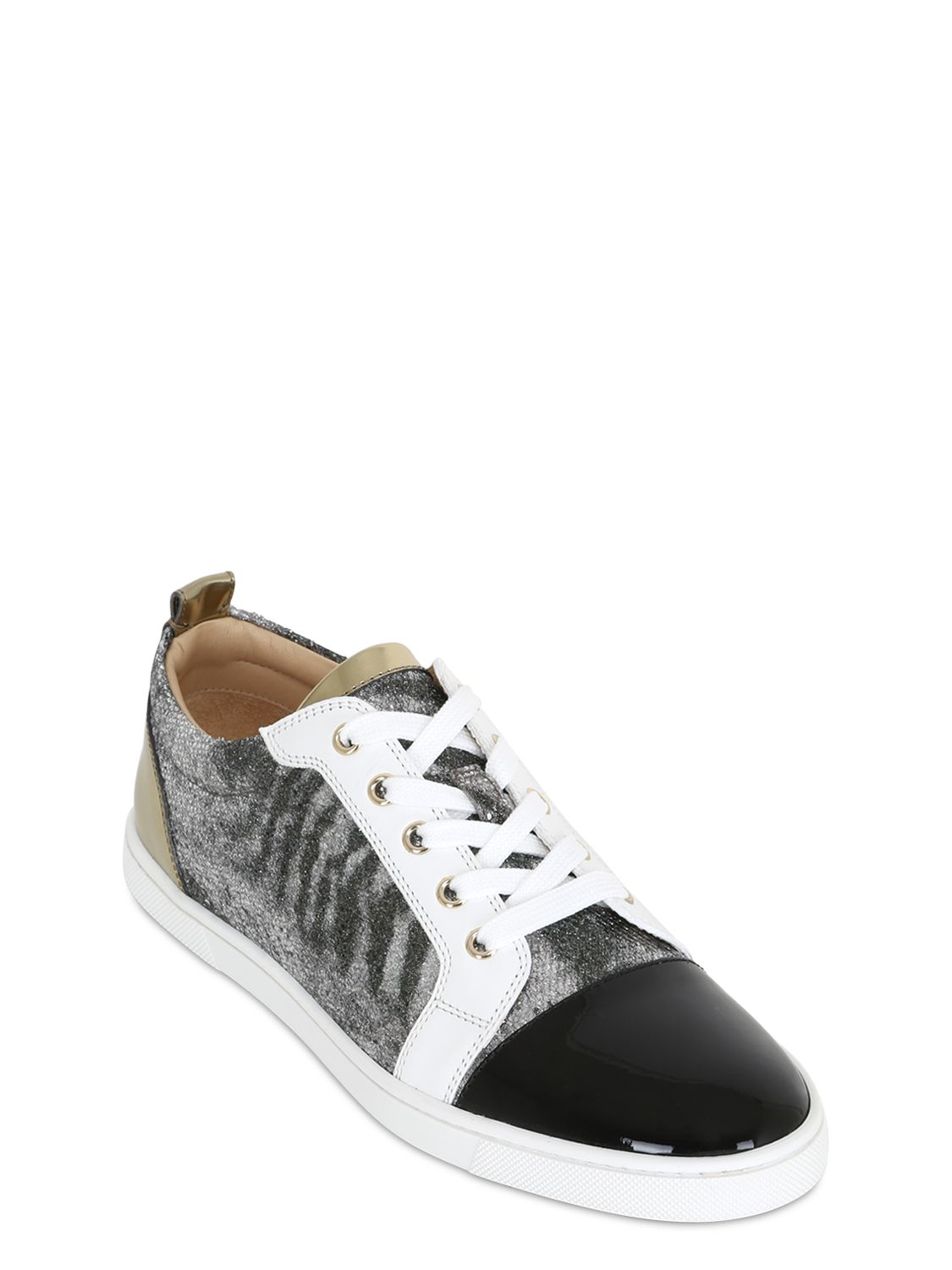 fake louis vuitton shoes - Christian louboutin Gondoliere Patent & Glitter Sneakers in Black ...