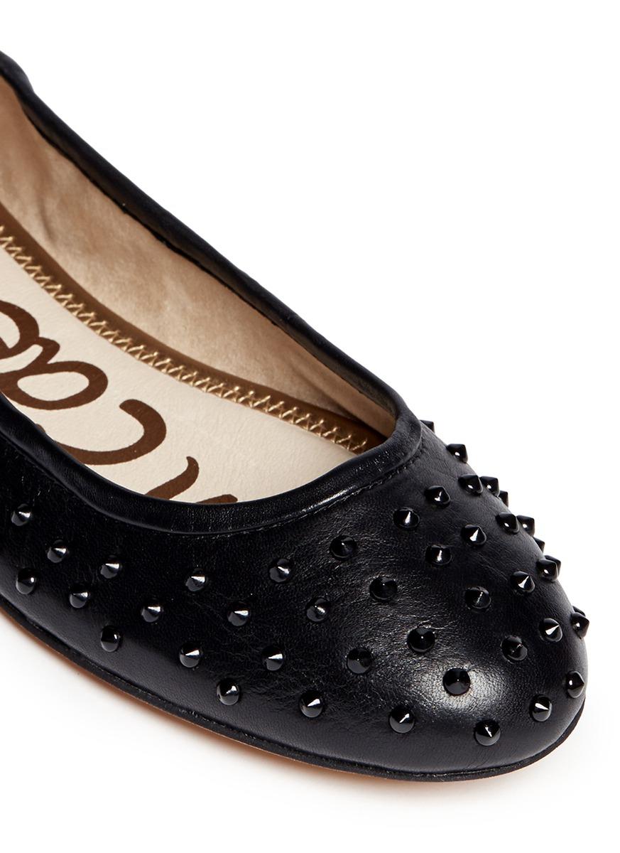 77297c37ea7b Lyst - Sam Edelman  forsyth  Stud Leather Flats in Black