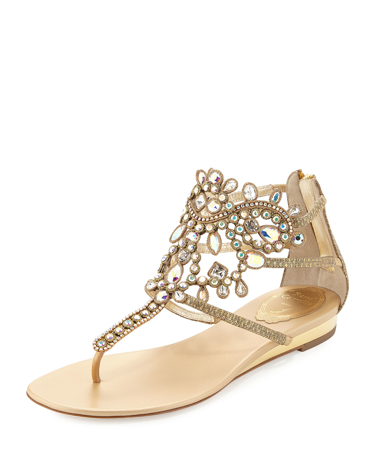 Rene Caovilla Crystal Embellished Leather Sandals In
