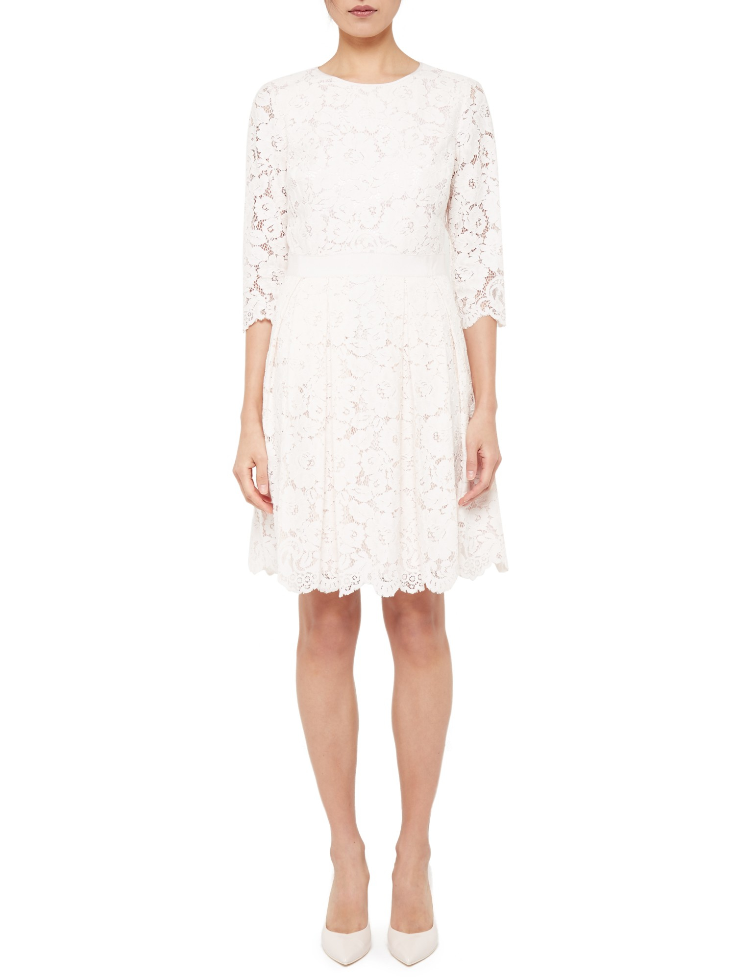 6eed8e3ca7 Ted Baker Ameeya Lace Skater Dress in Pink - Lyst