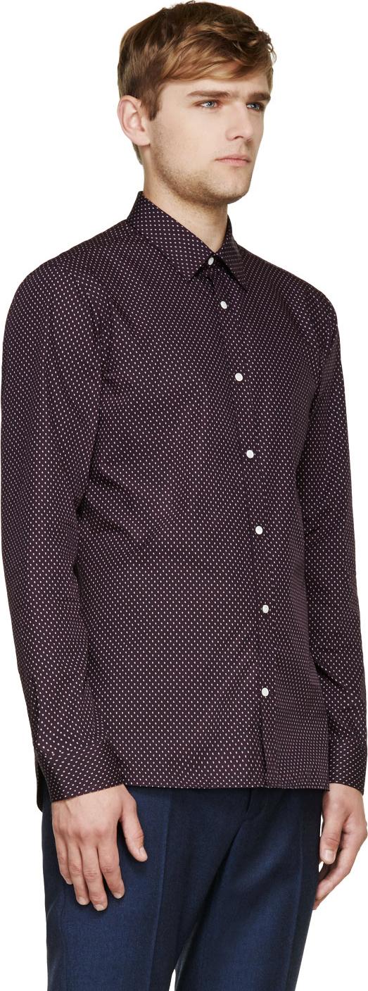 Burberry London Paisley Print Dress Shirt In Purple For