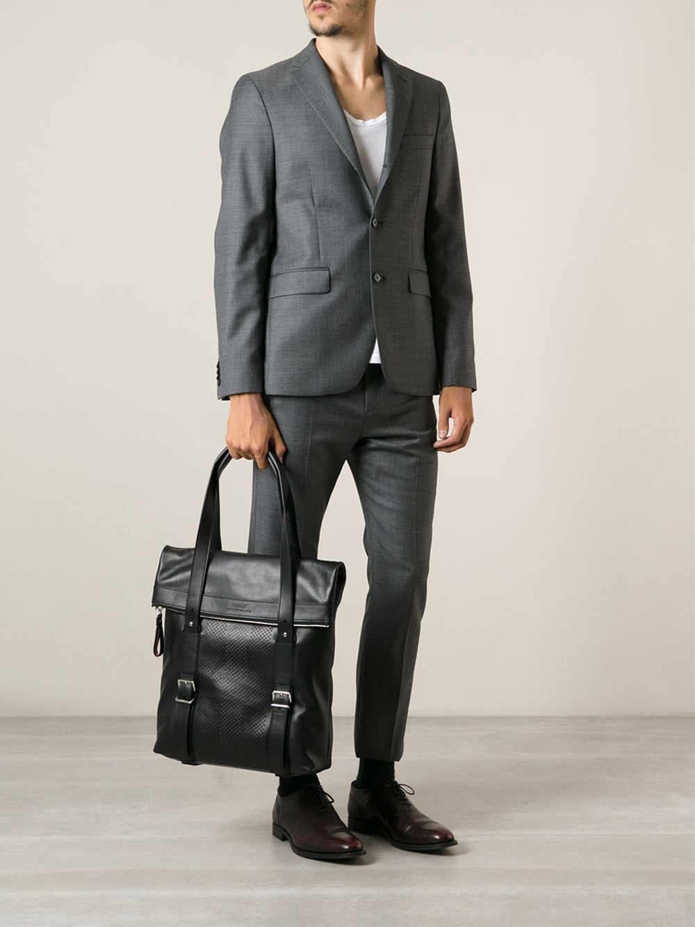 Bally Punched Leather Tote Bag in Black for Men | Lyst