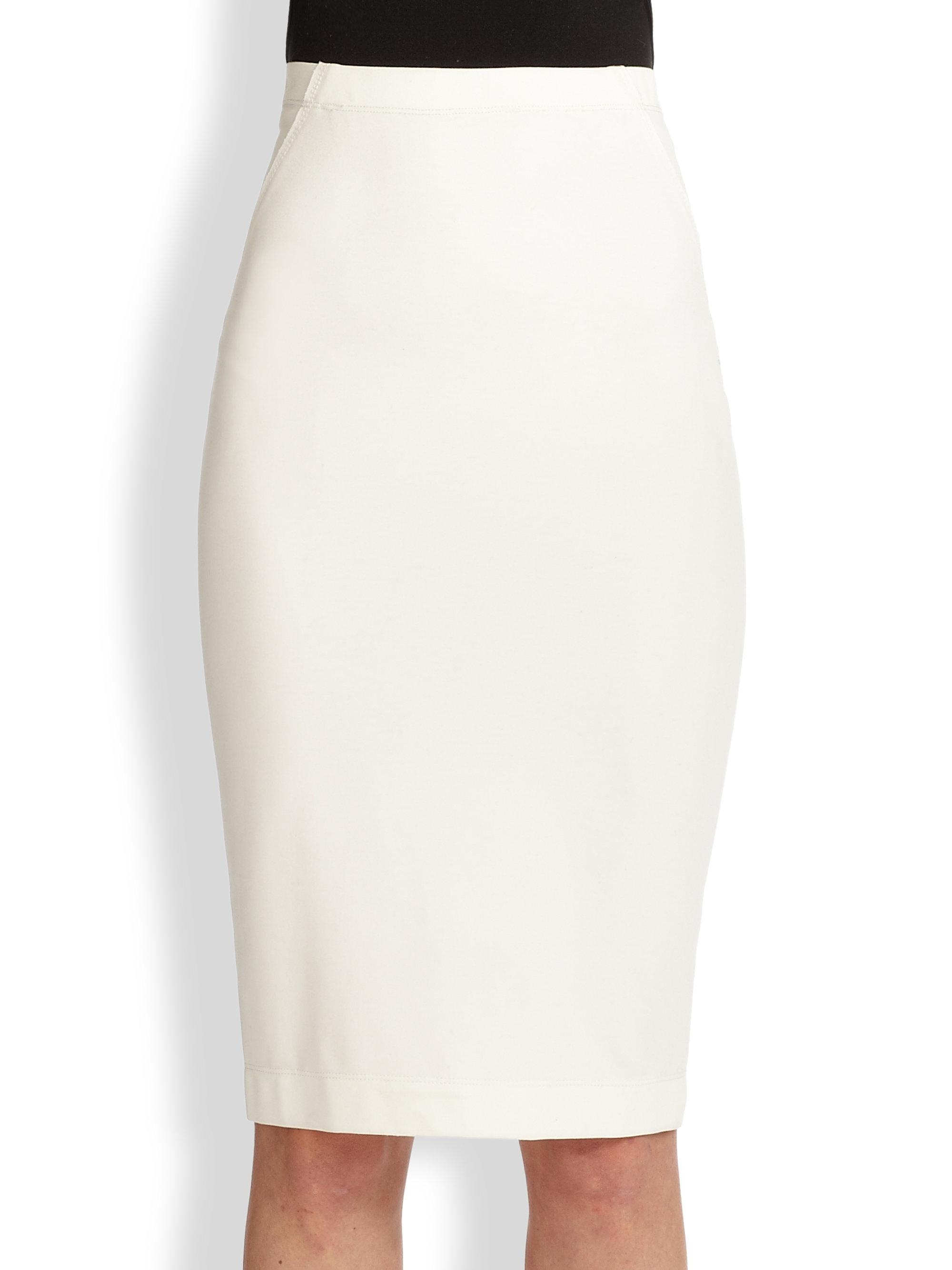 donna karan pull on pencil skirt in white lyst