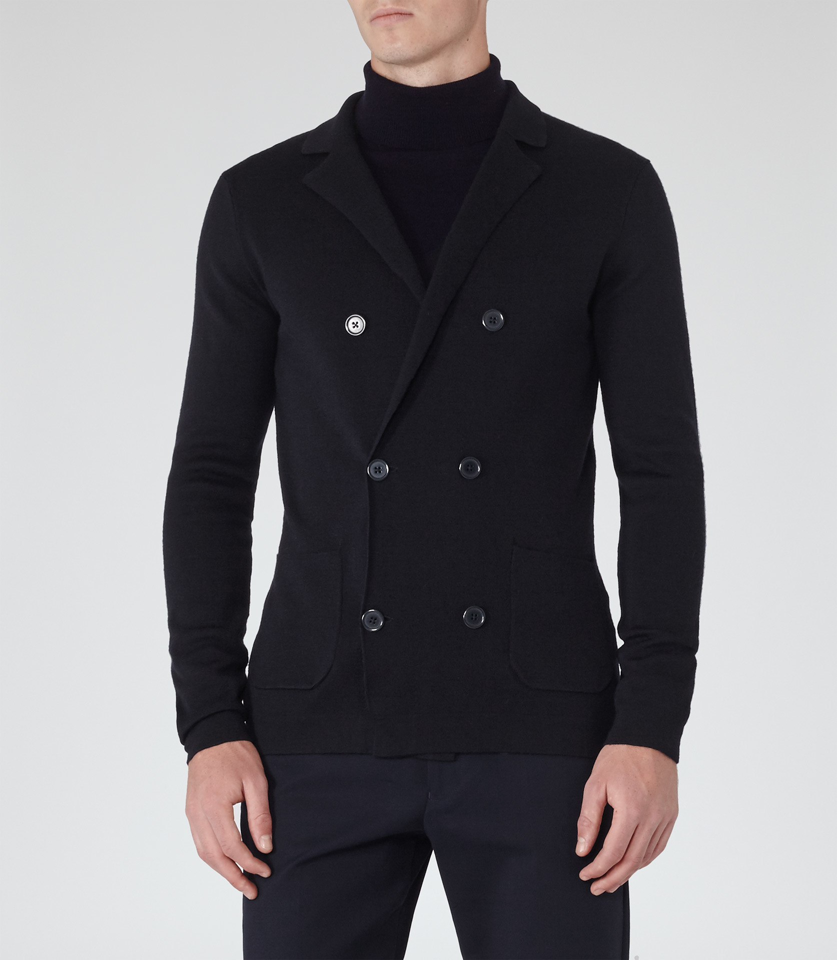 Reiss Camelot Double-breasted Cardigan in Blue for Men | Lyst